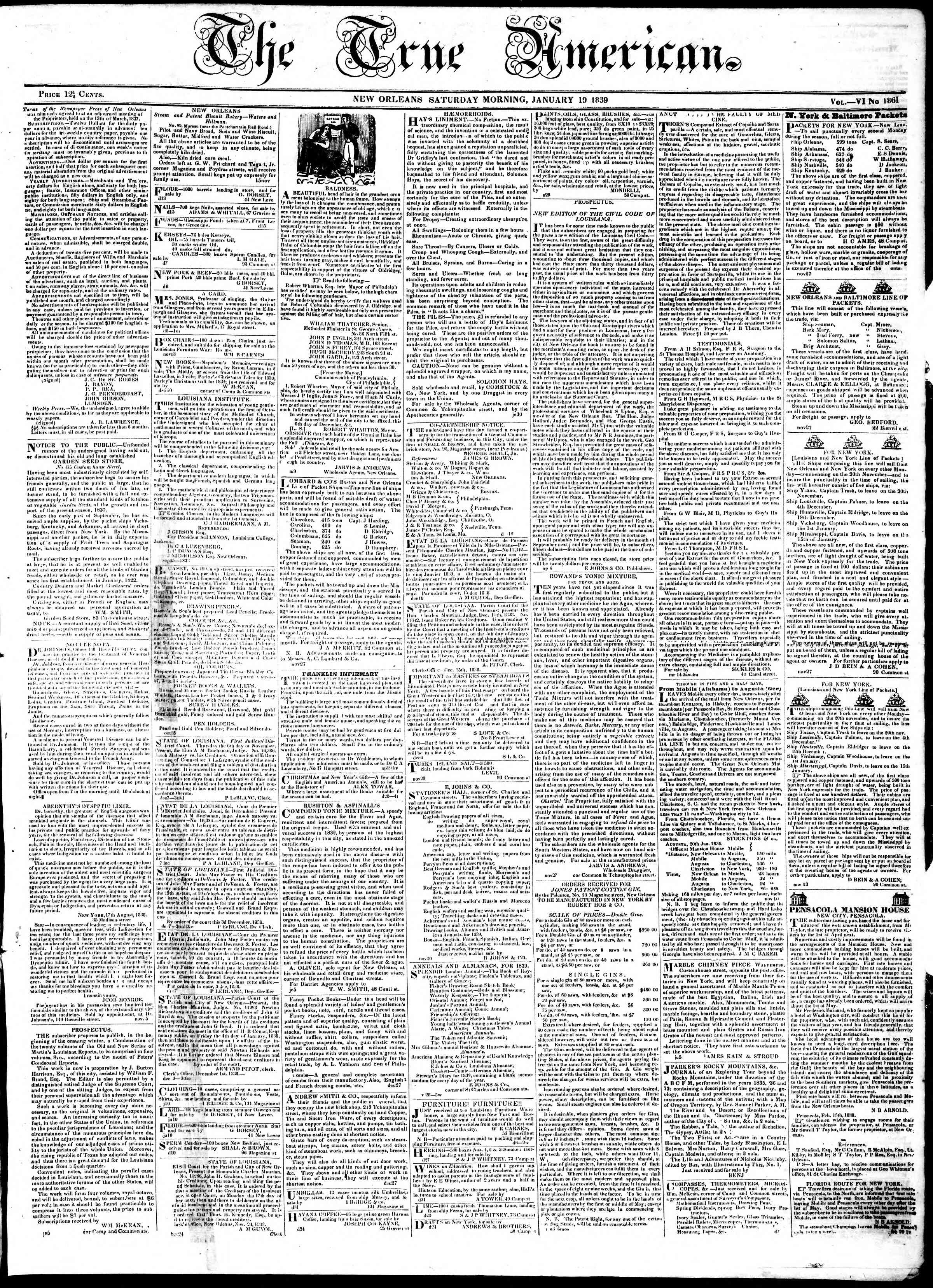 Newspaper of True American dated January 19, 1839 Page 1