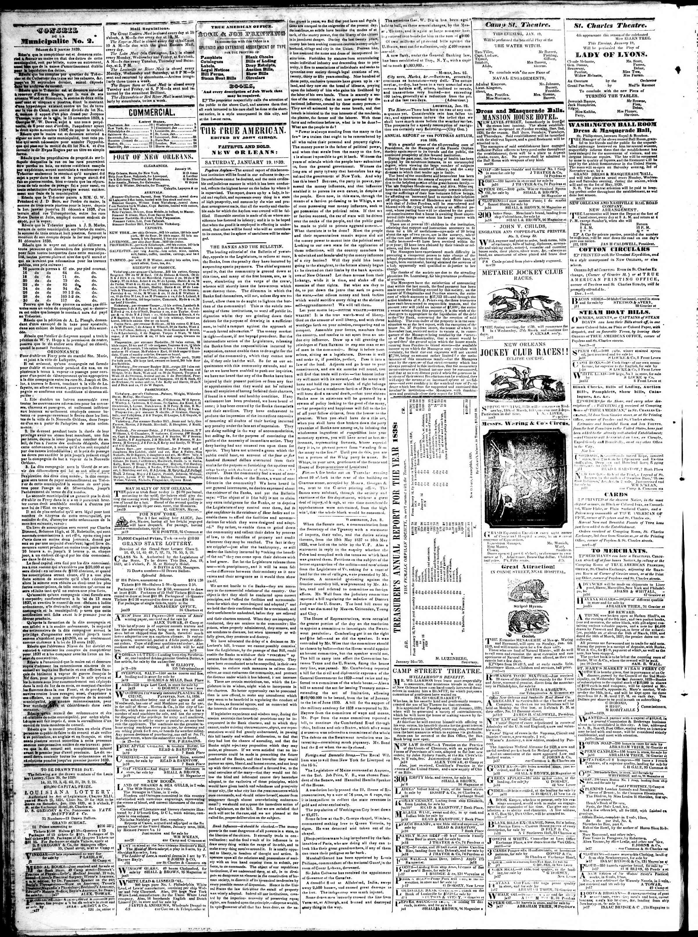 January 19, 1839 Tarihli True American Gazetesi Sayfa 2