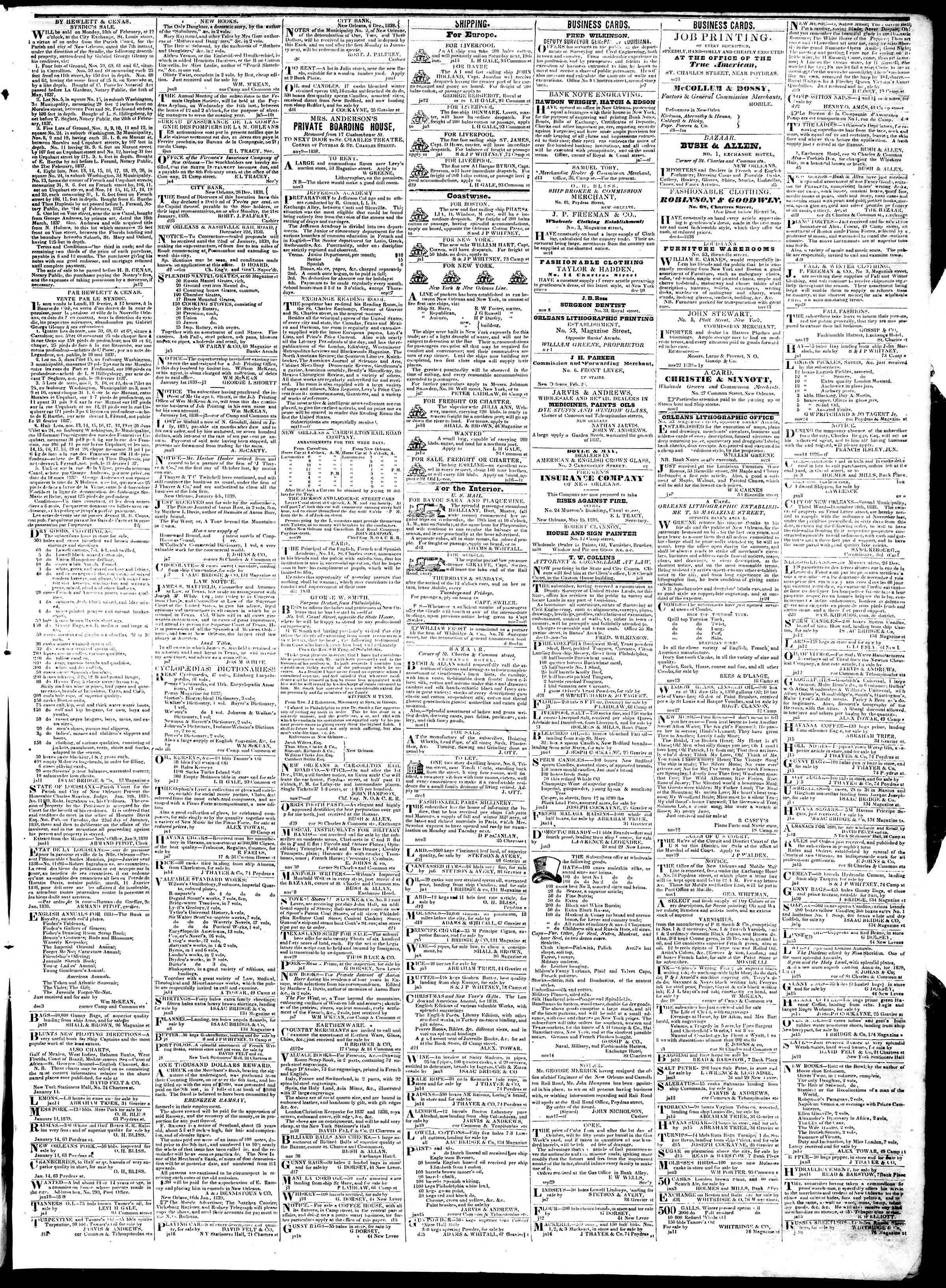 Newspaper of True American dated January 19, 1839 Page 3