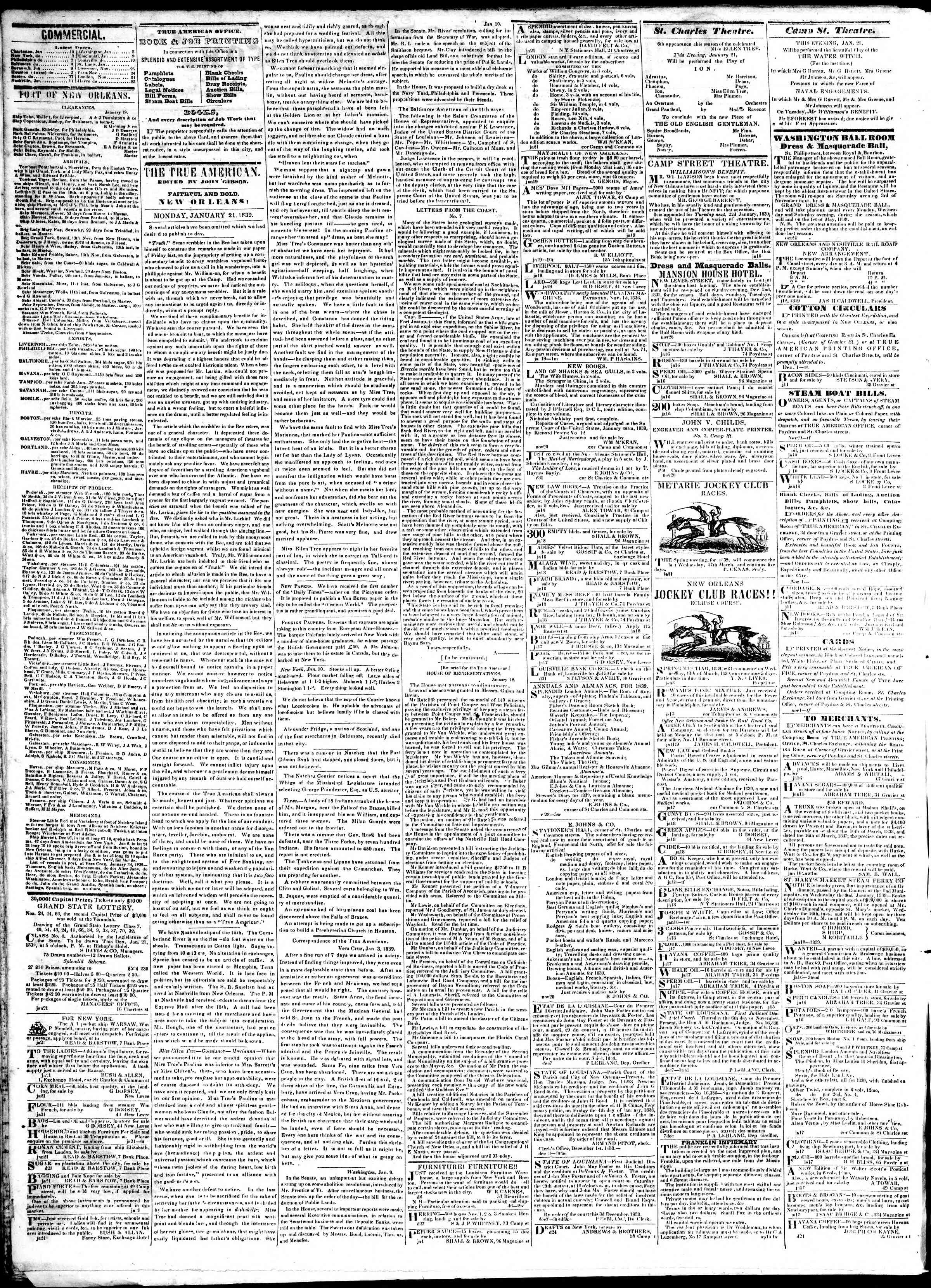 January 21, 1839 Tarihli True American Gazetesi Sayfa 2