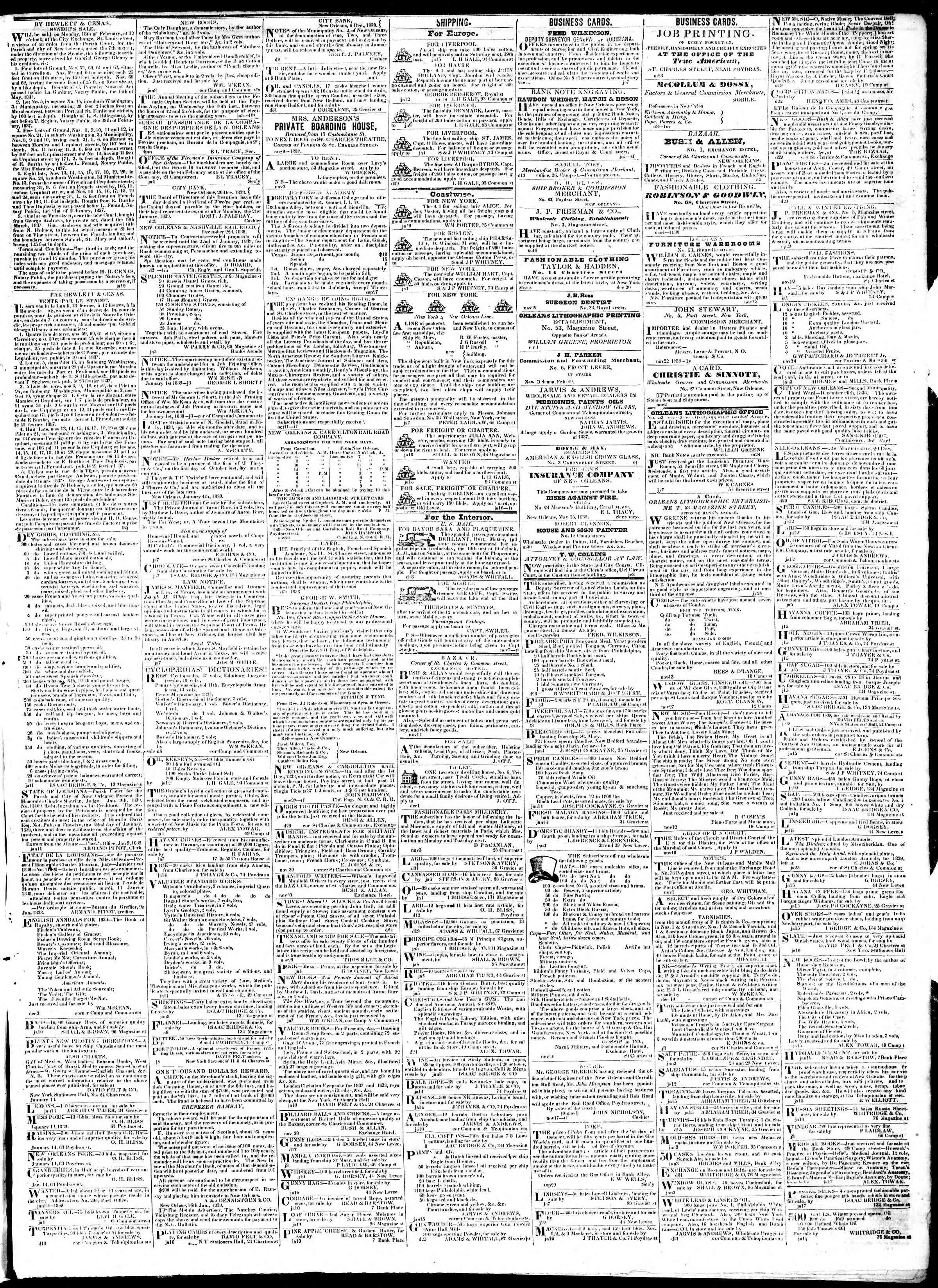 January 21, 1839 Tarihli True American Gazetesi Sayfa 3