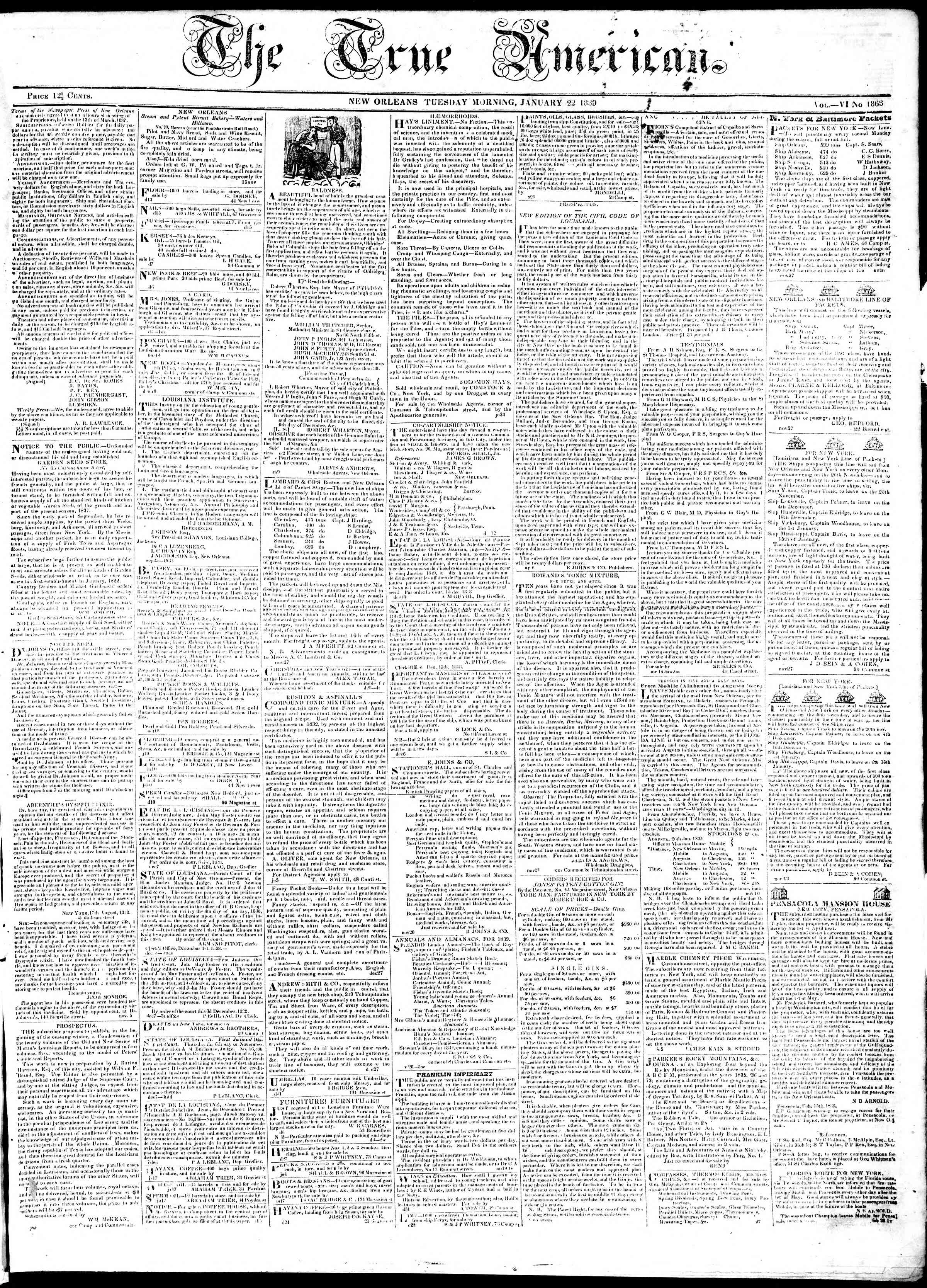 Newspaper of True American dated January 22, 1839 Page 1