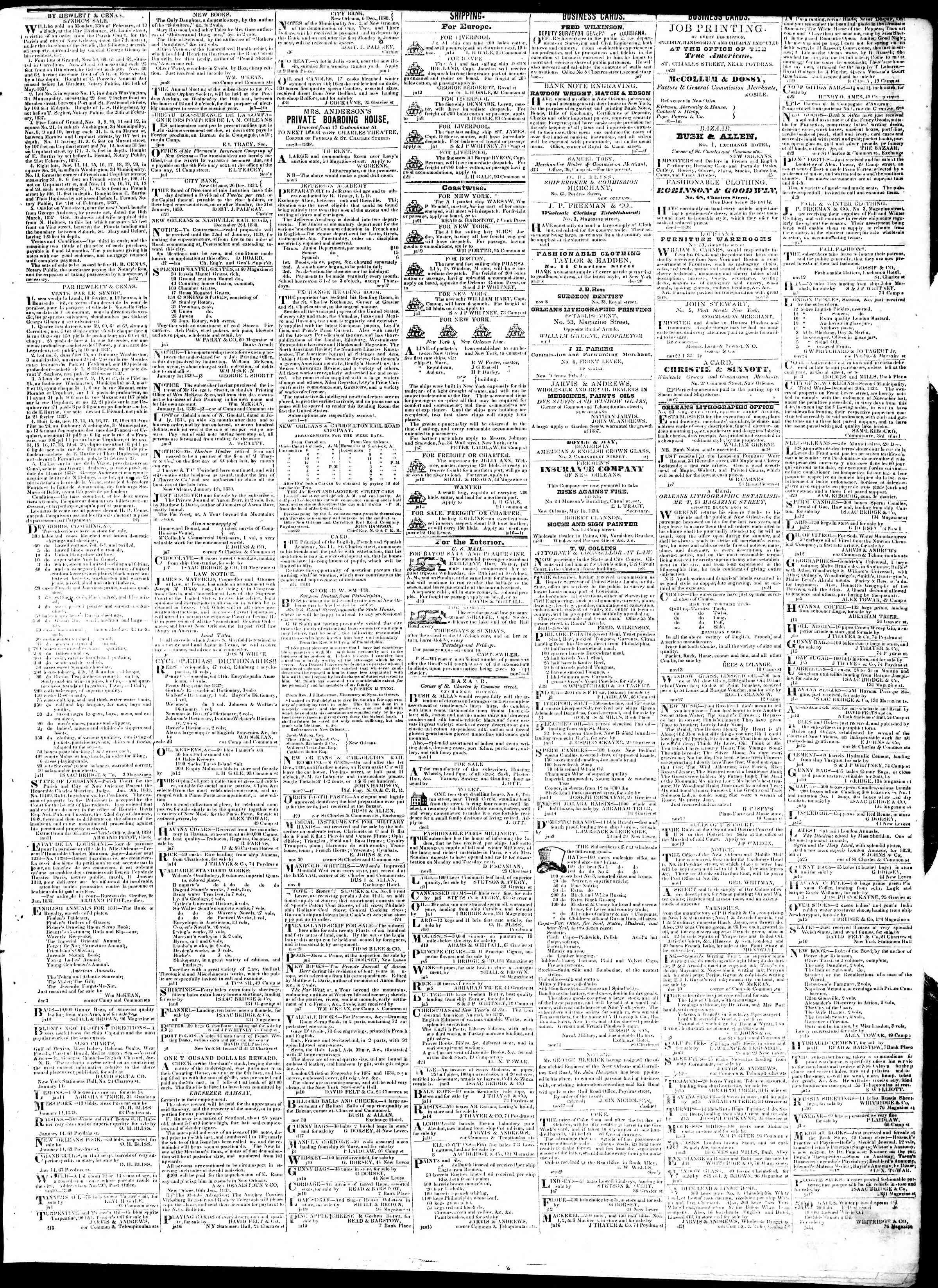 January 22, 1839 Tarihli True American Gazetesi Sayfa 3