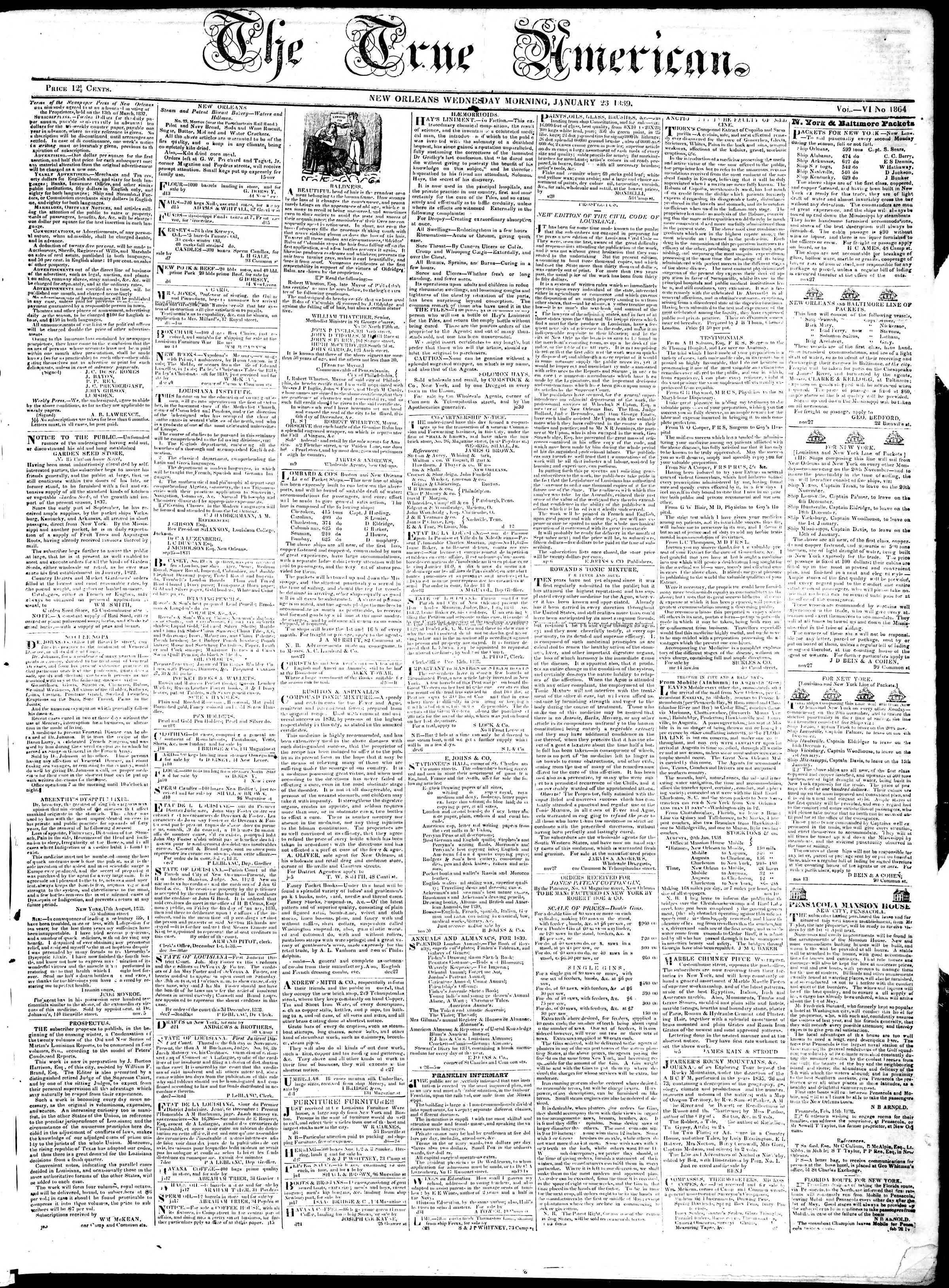 23 Ocak 1839 tarihli True American Gazetesi Sayfa 1
