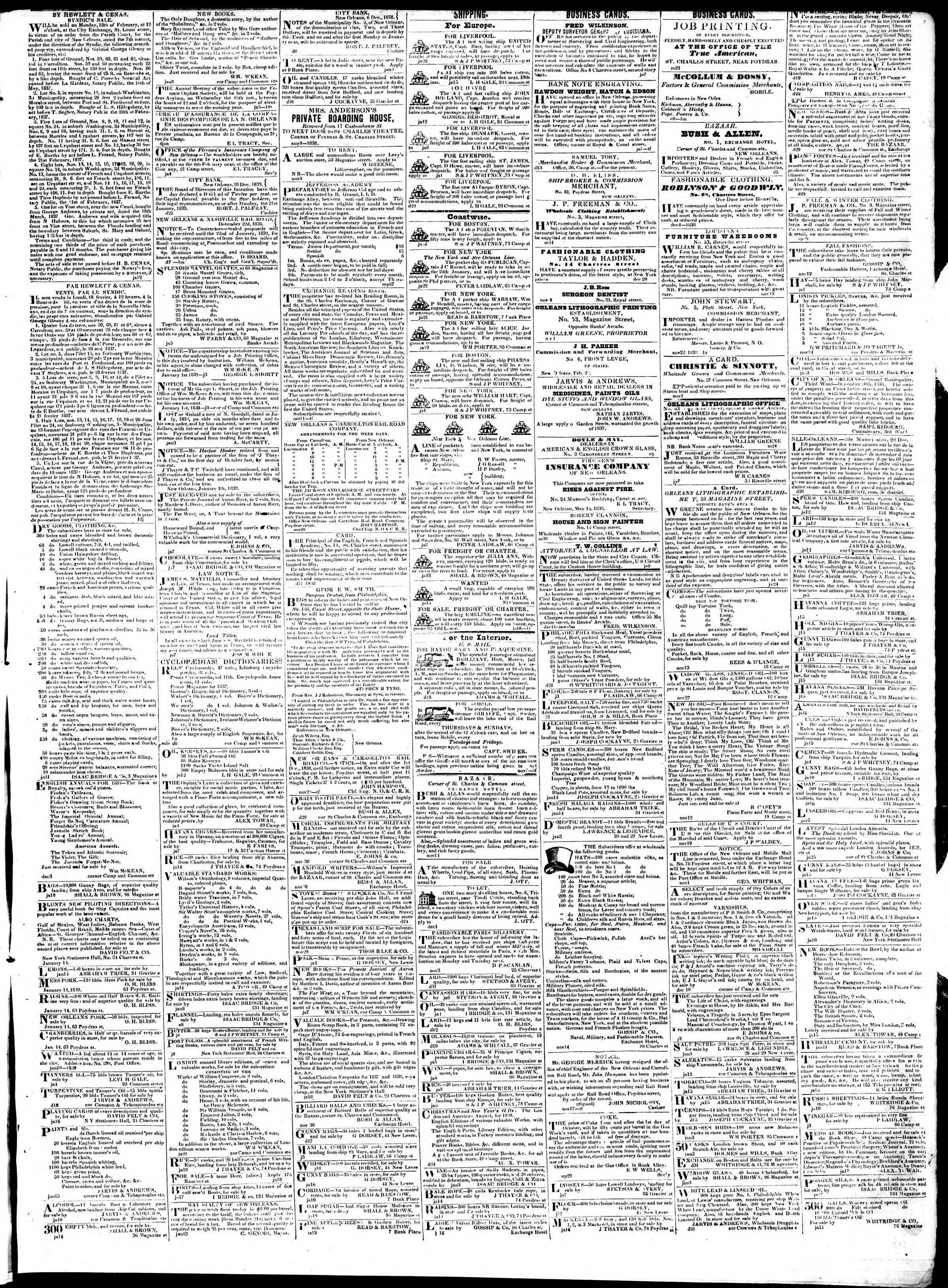 January 23, 1839 Tarihli True American Gazetesi Sayfa 3