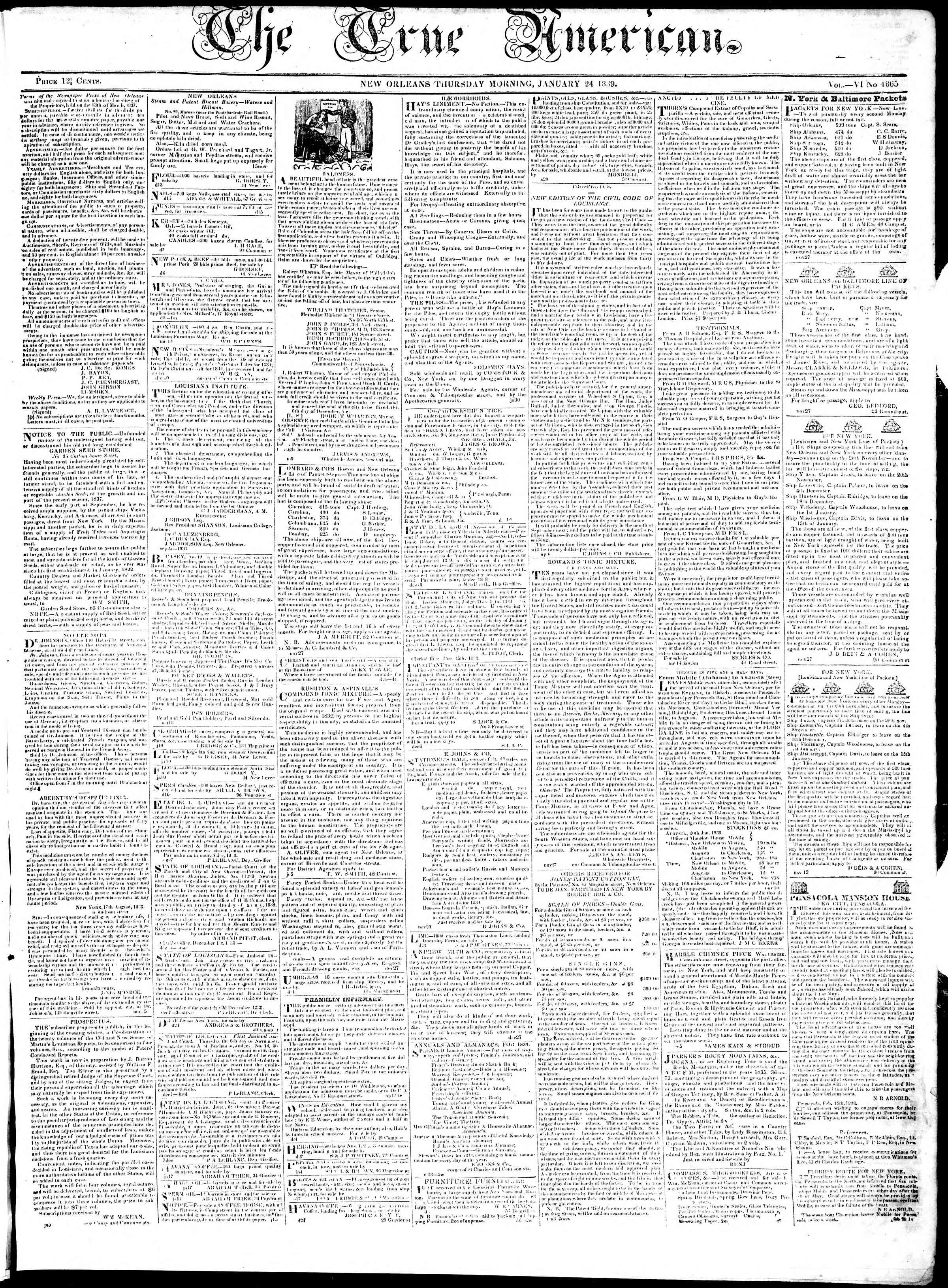 Newspaper of True American dated January 24, 1839 Page 1