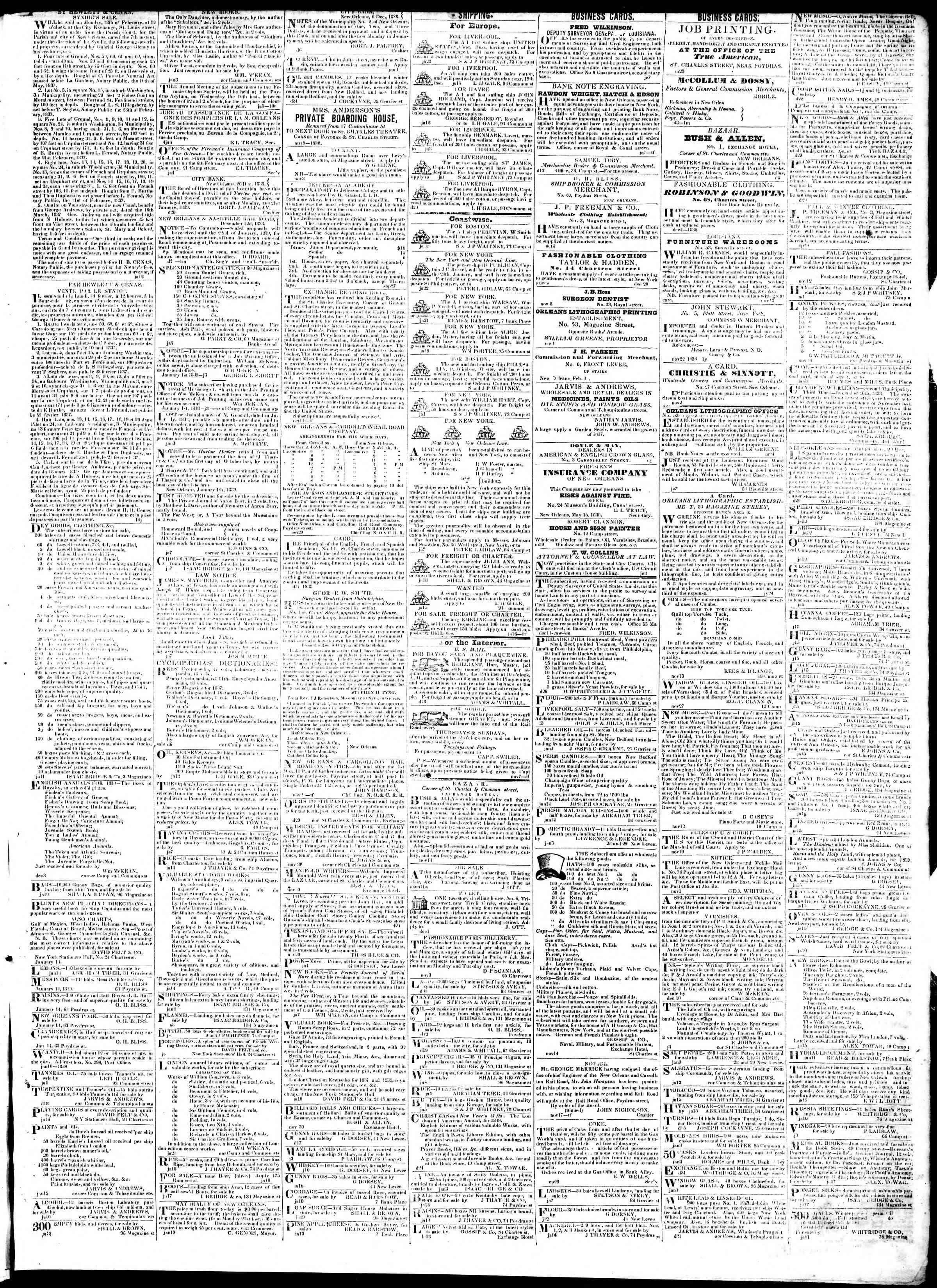 January 24, 1839 Tarihli True American Gazetesi Sayfa 3
