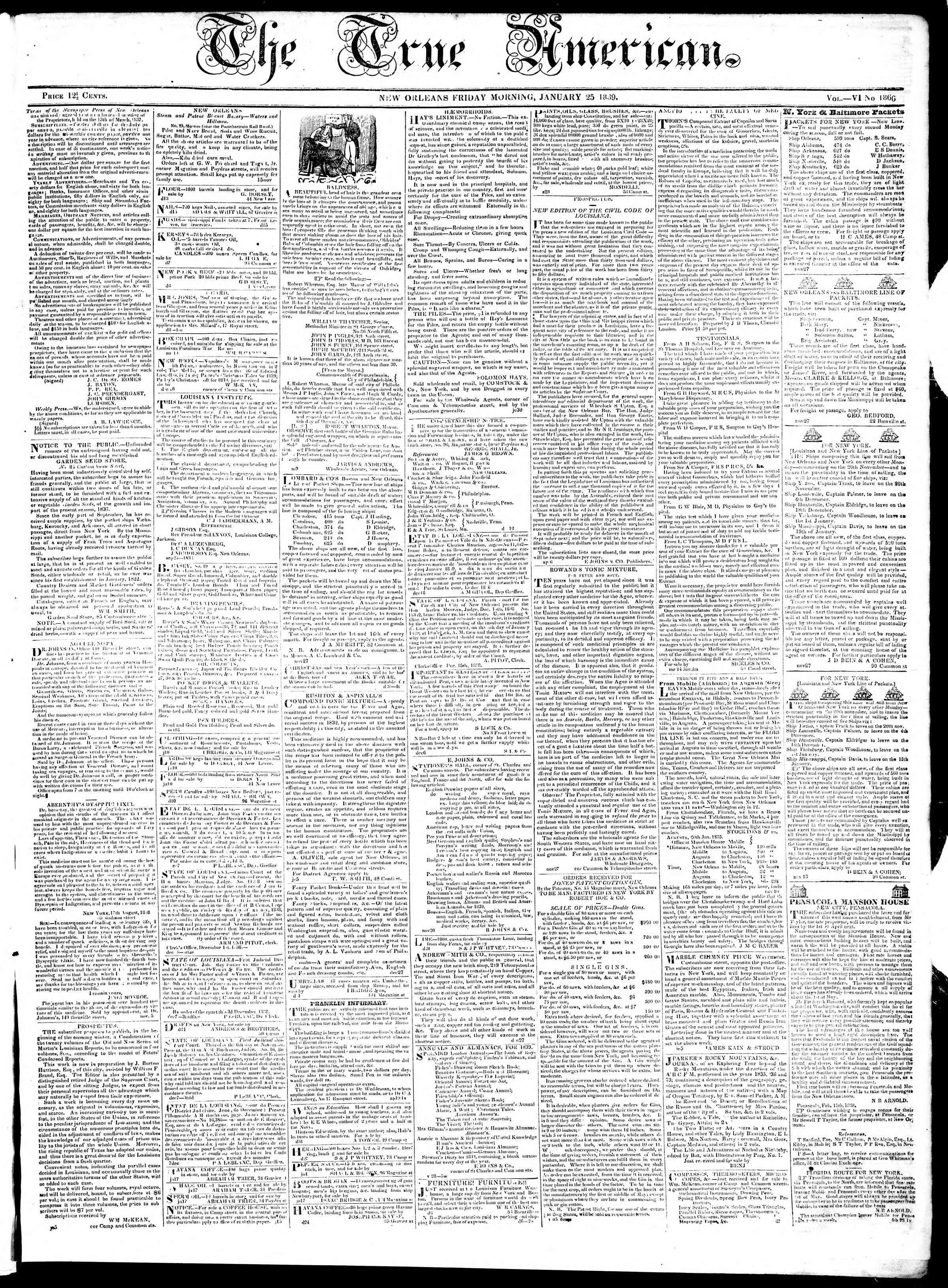 January 25, 1839 Tarihli True American Gazetesi Sayfa 1