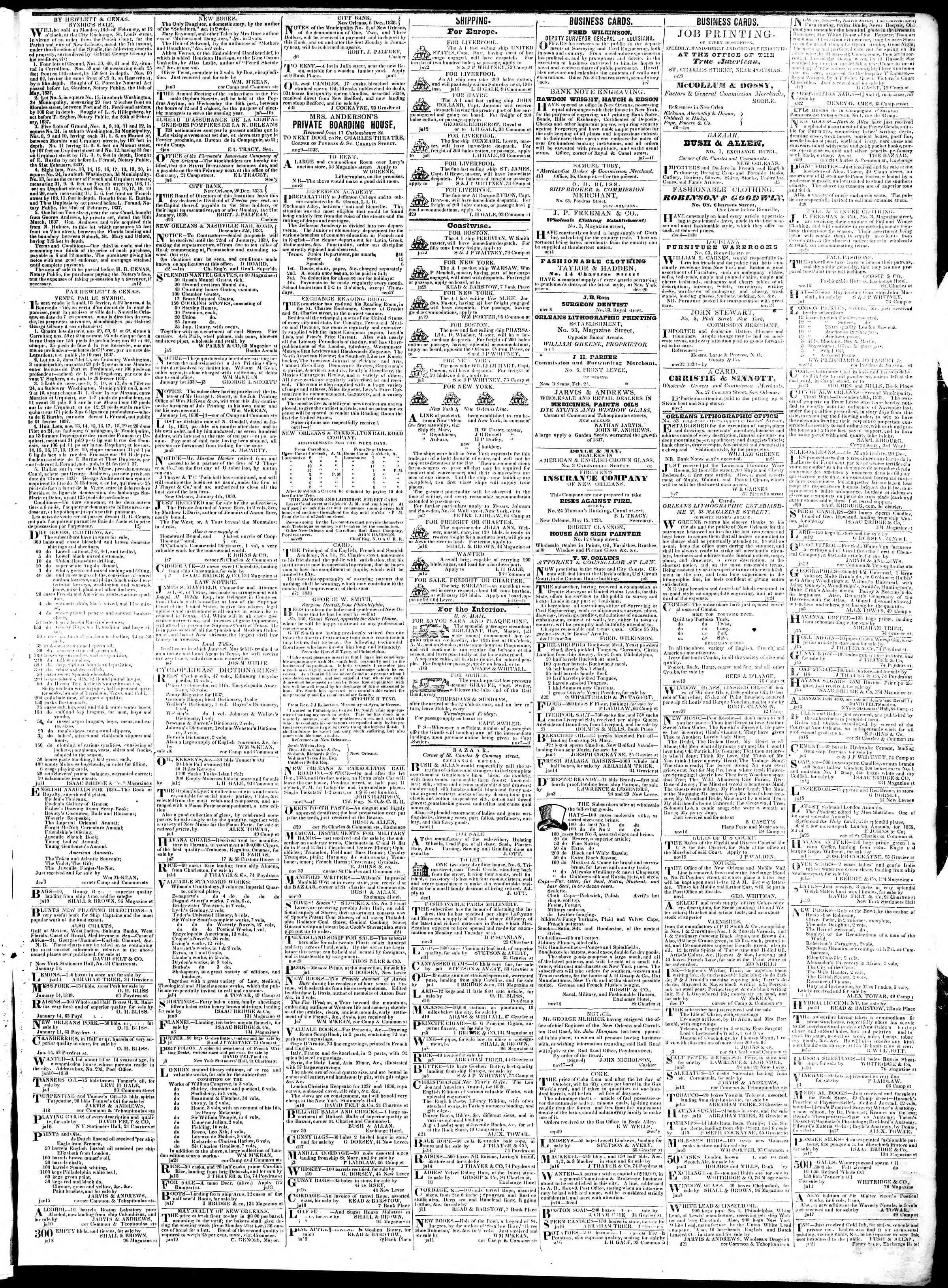 25 Ocak 1839 Tarihli True American Gazetesi Sayfa 3