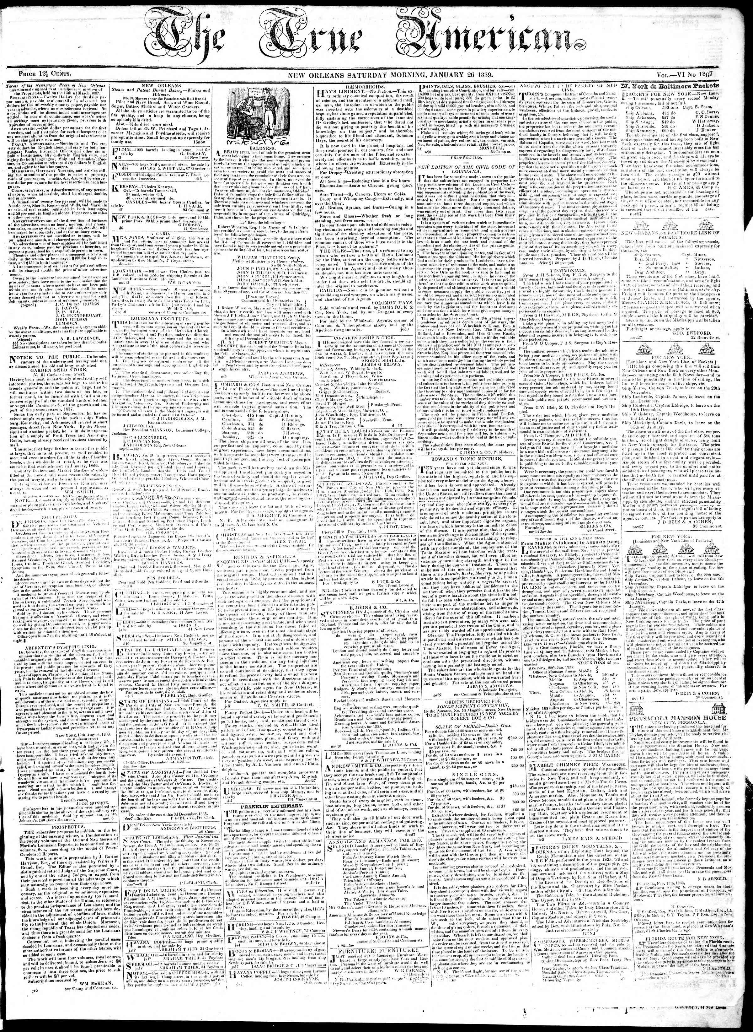 Newspaper of True American dated January 26, 1839 Page 1