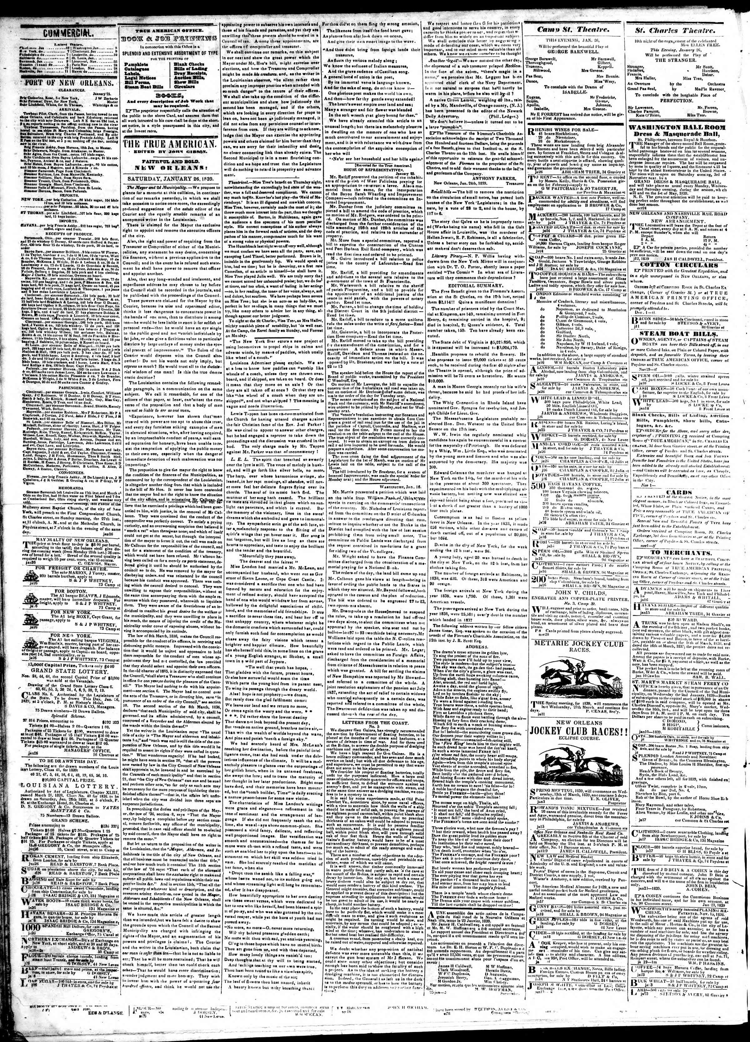 Newspaper of True American dated January 26, 1839 Page 2