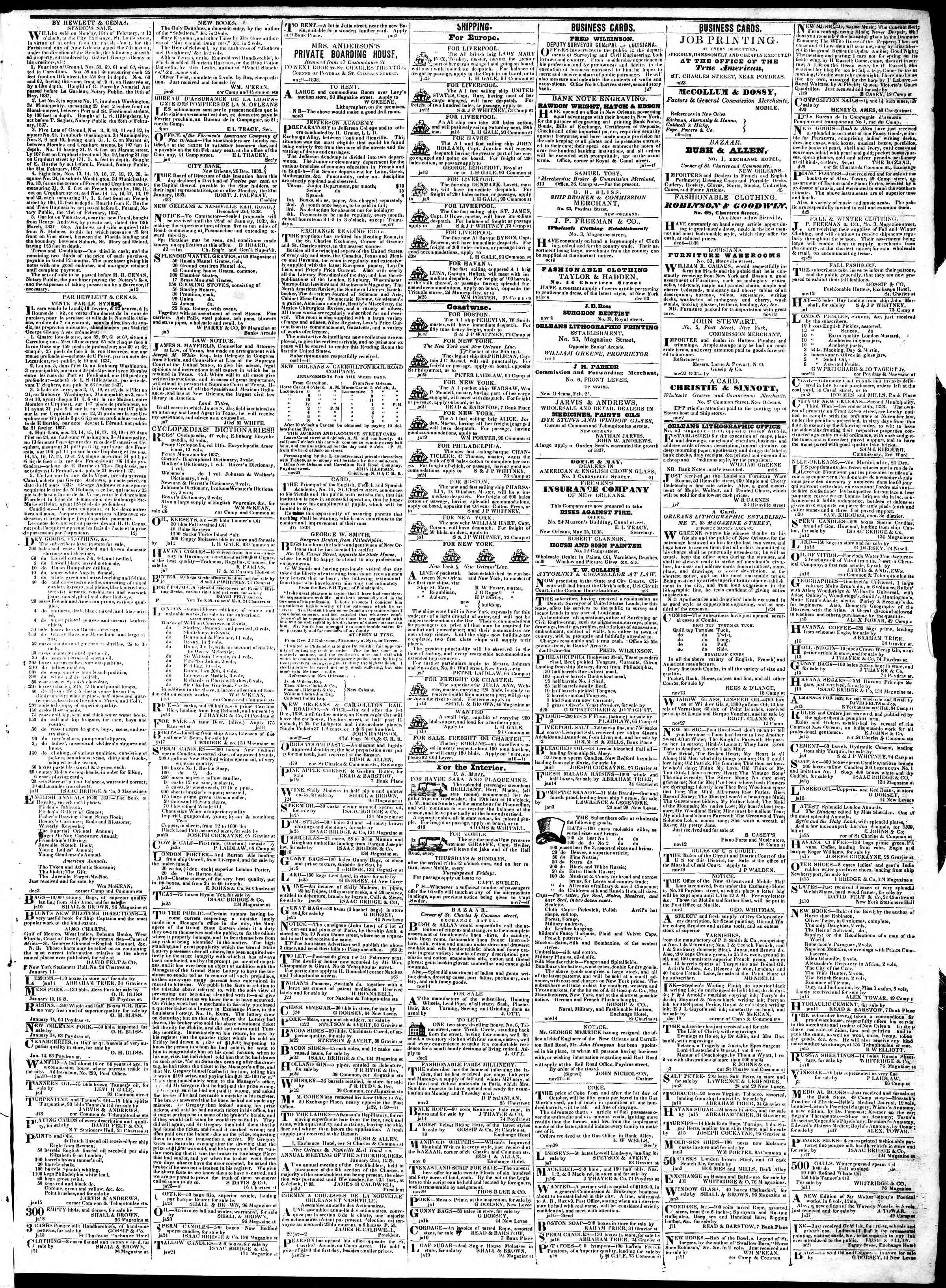 Newspaper of True American dated January 26, 1839 Page 3