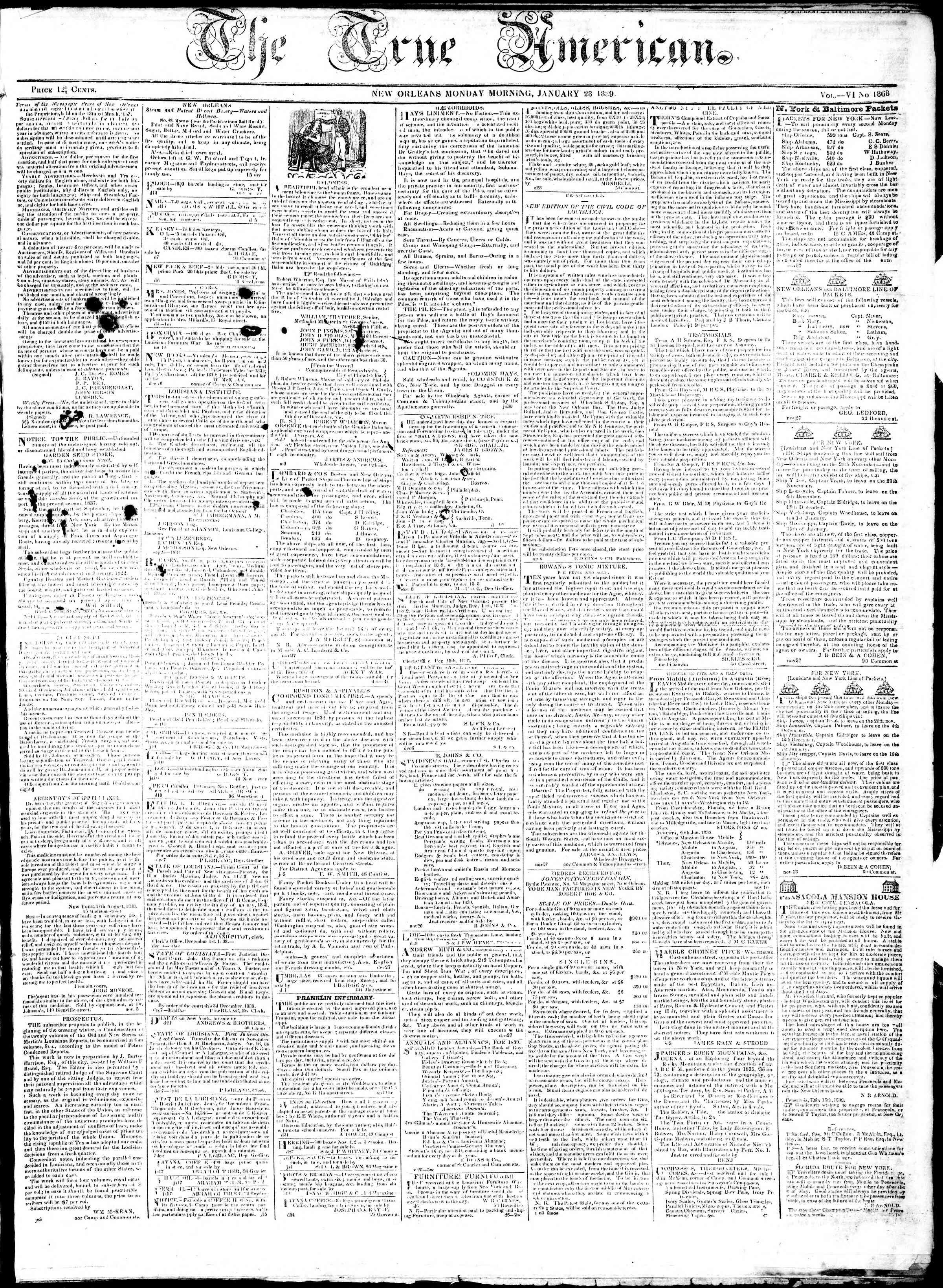January 28, 1839 Tarihli True American Gazetesi Sayfa 1