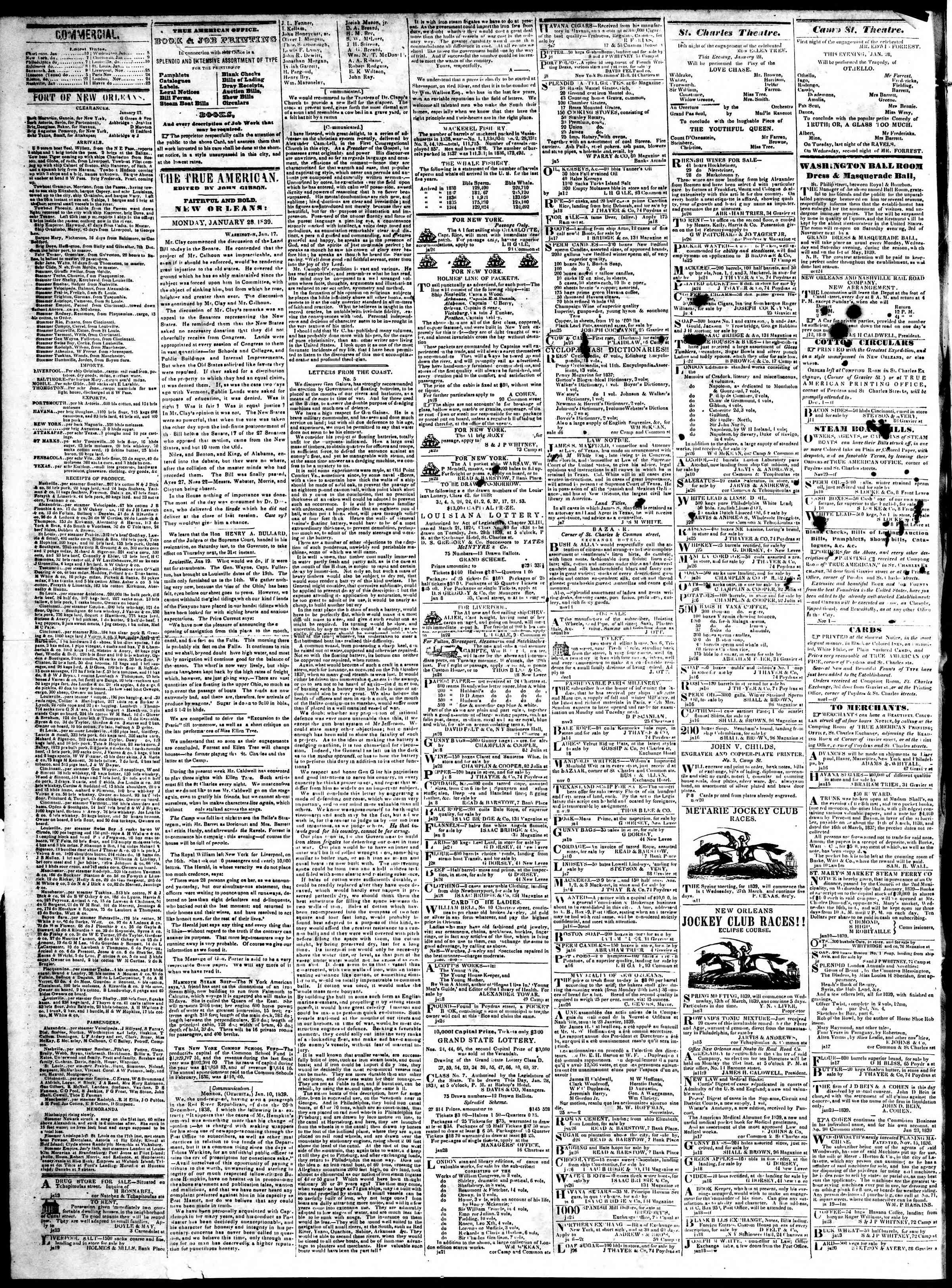 28 Ocak 1839 Tarihli True American Gazetesi Sayfa 2