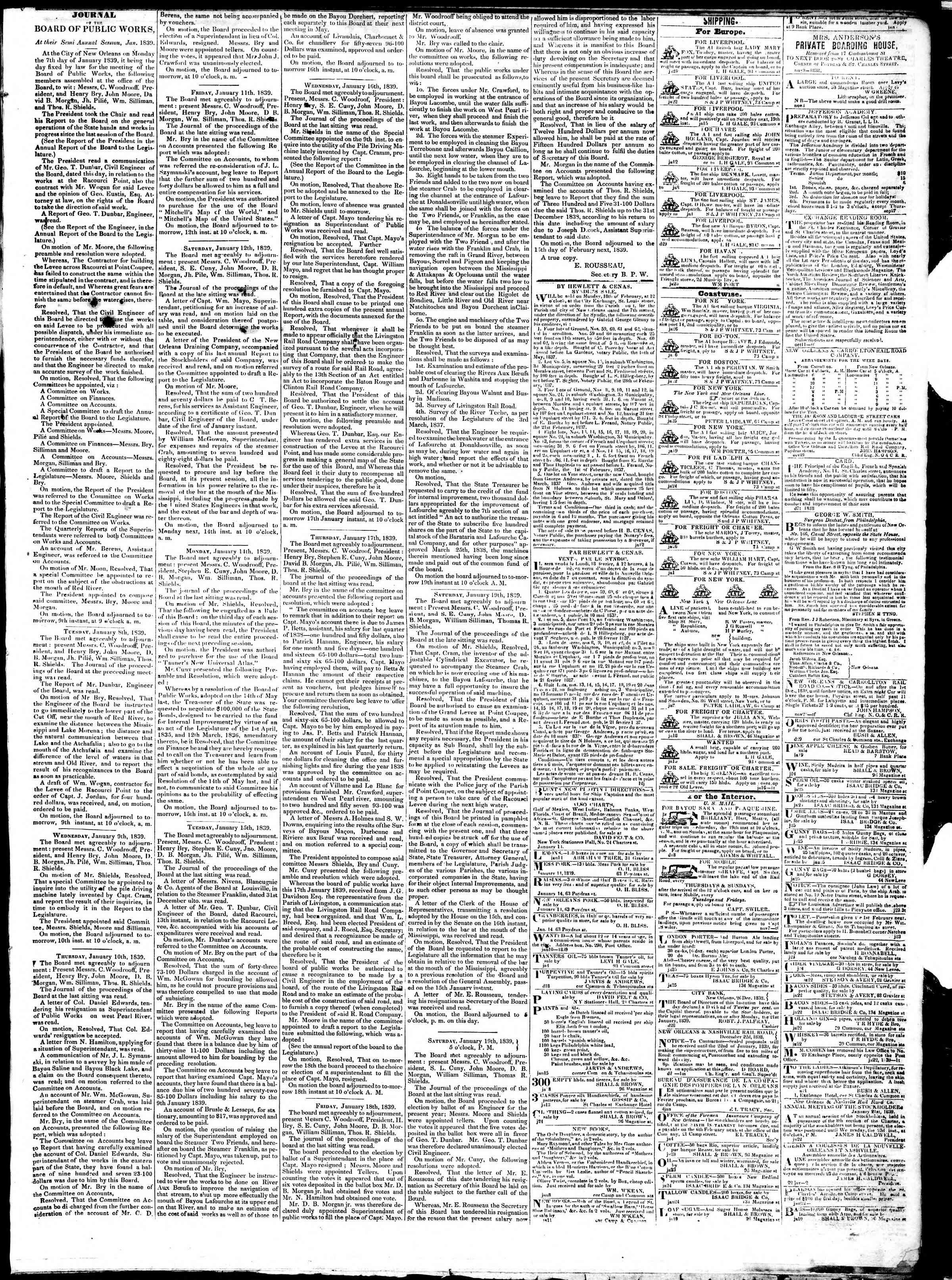 Newspaper of True American dated January 28, 1839 Page 3