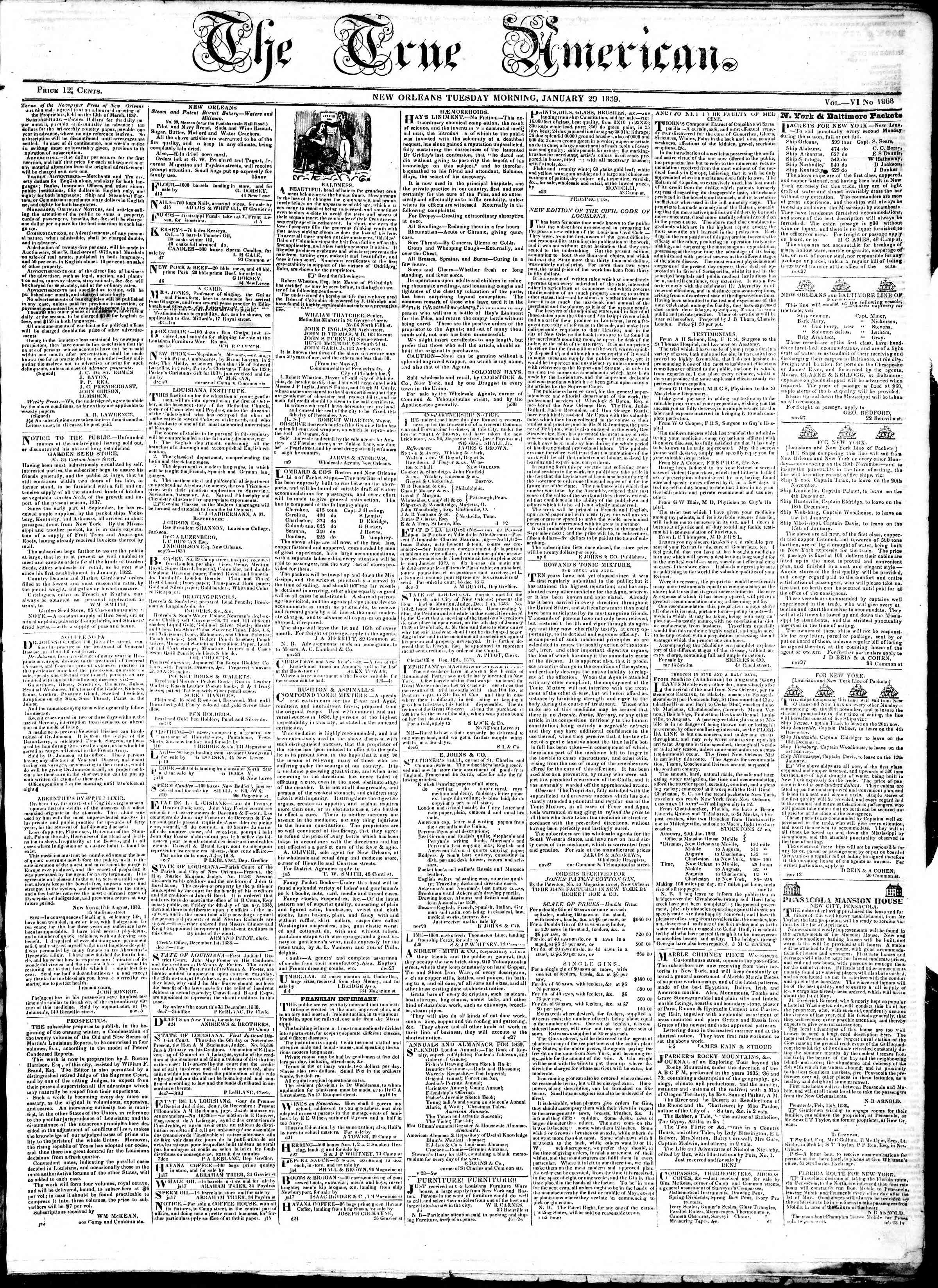 January 29, 1839 Tarihli True American Gazetesi Sayfa 1