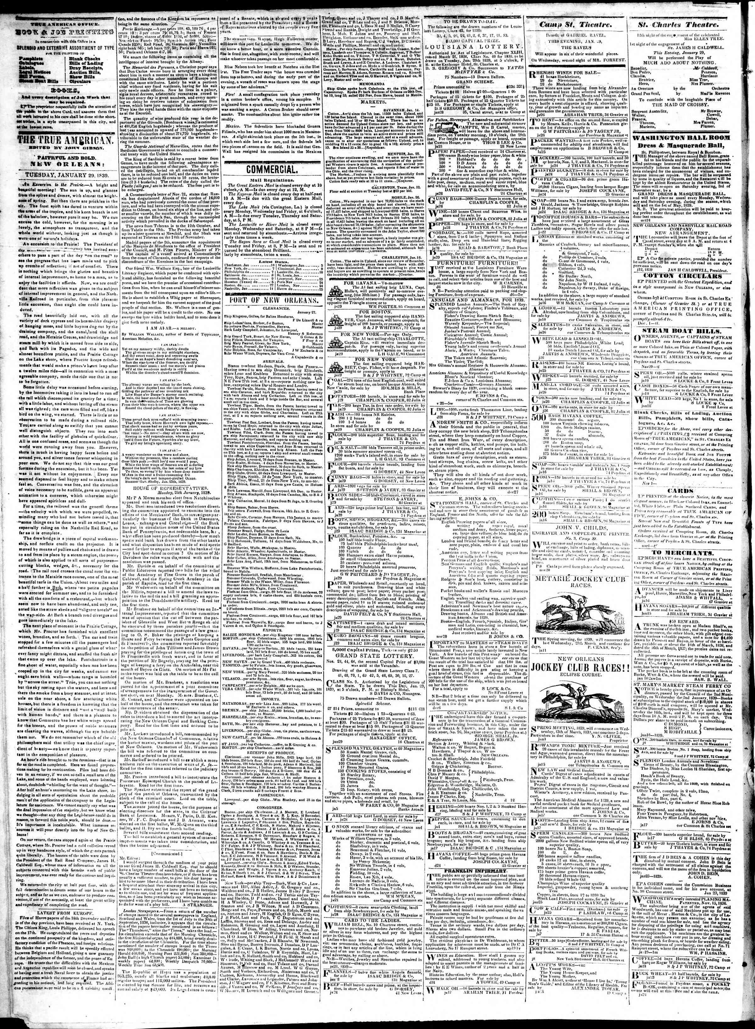 January 29, 1839 Tarihli True American Gazetesi Sayfa 2