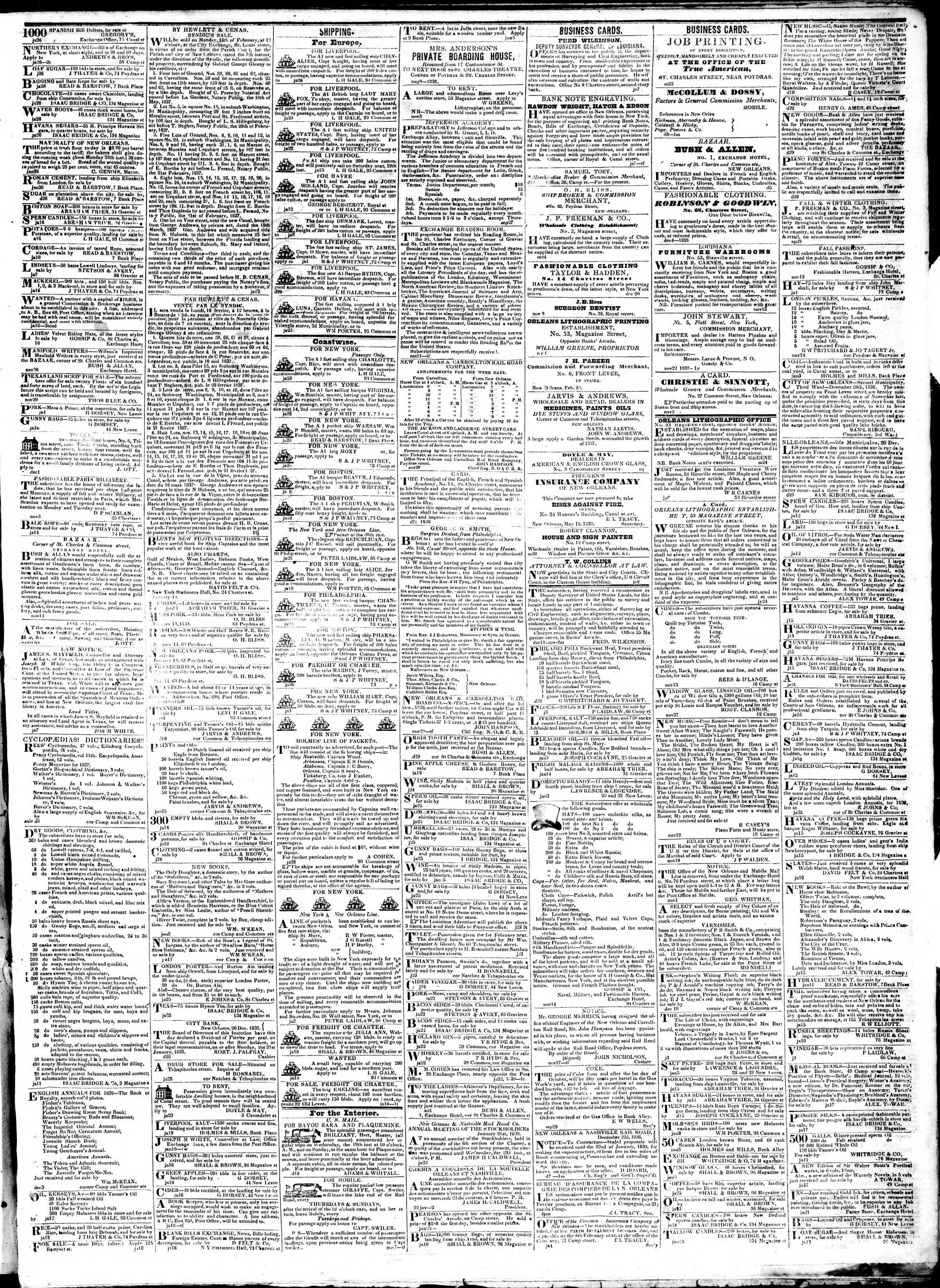 Newspaper of True American dated January 29, 1839 Page 3