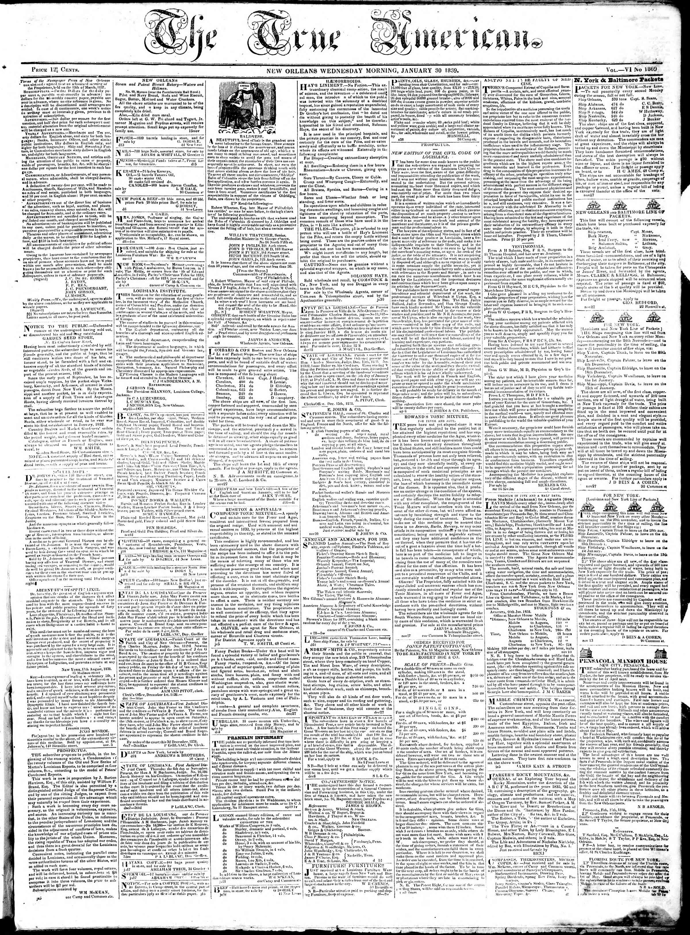 January 30, 1839 Tarihli True American Gazetesi Sayfa 1