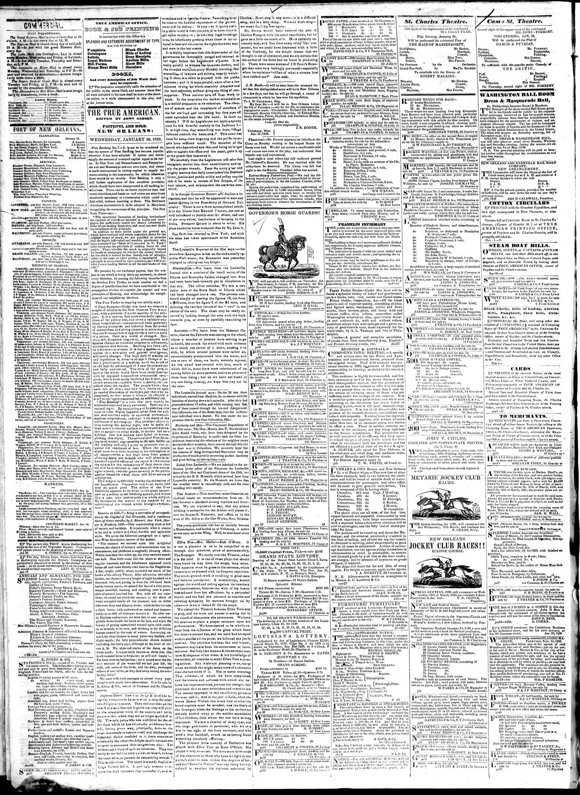 January 30, 1839 Tarihli True American Gazetesi Sayfa 2