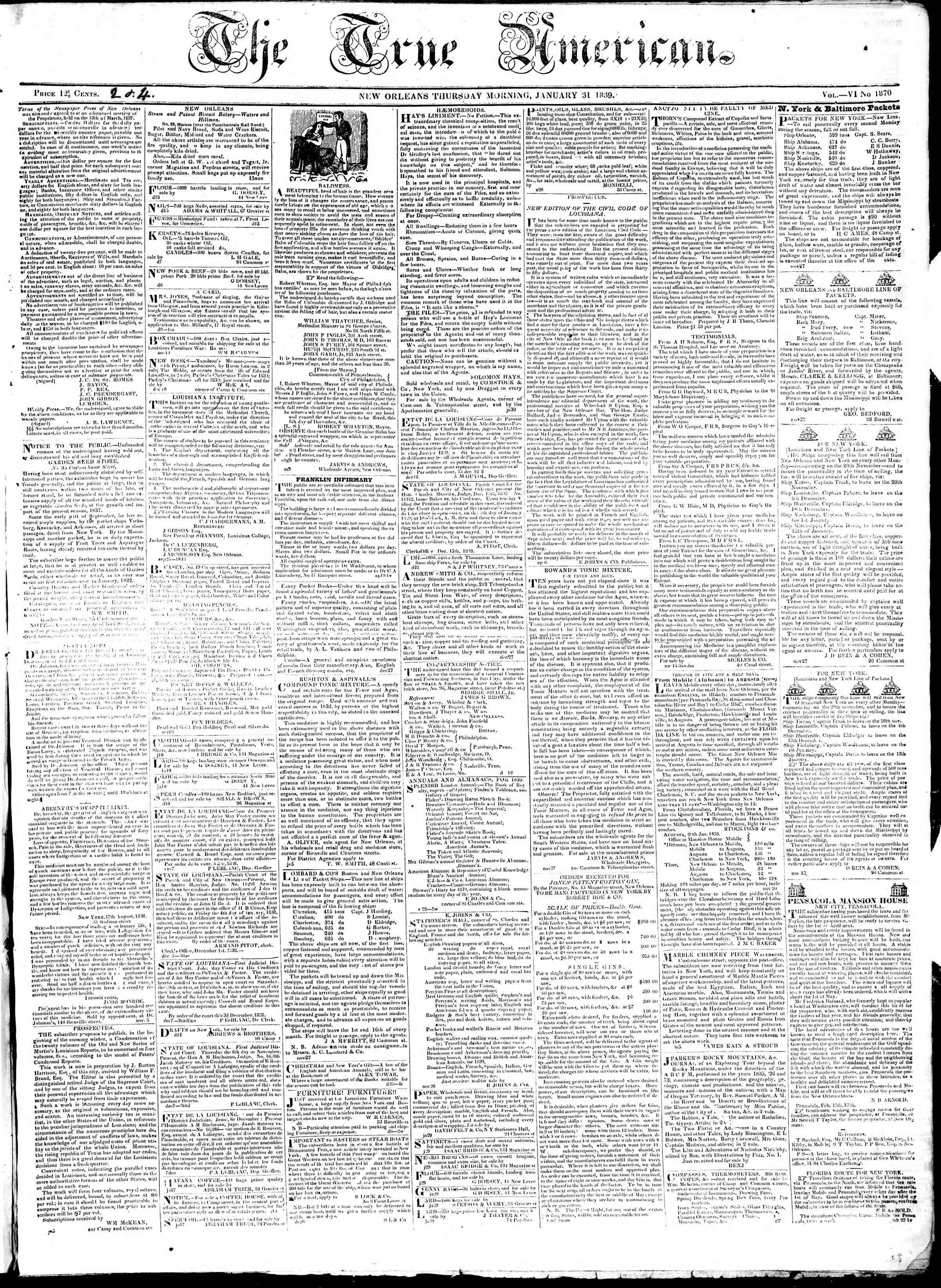 January 31, 1839 Tarihli True American Gazetesi Sayfa 1