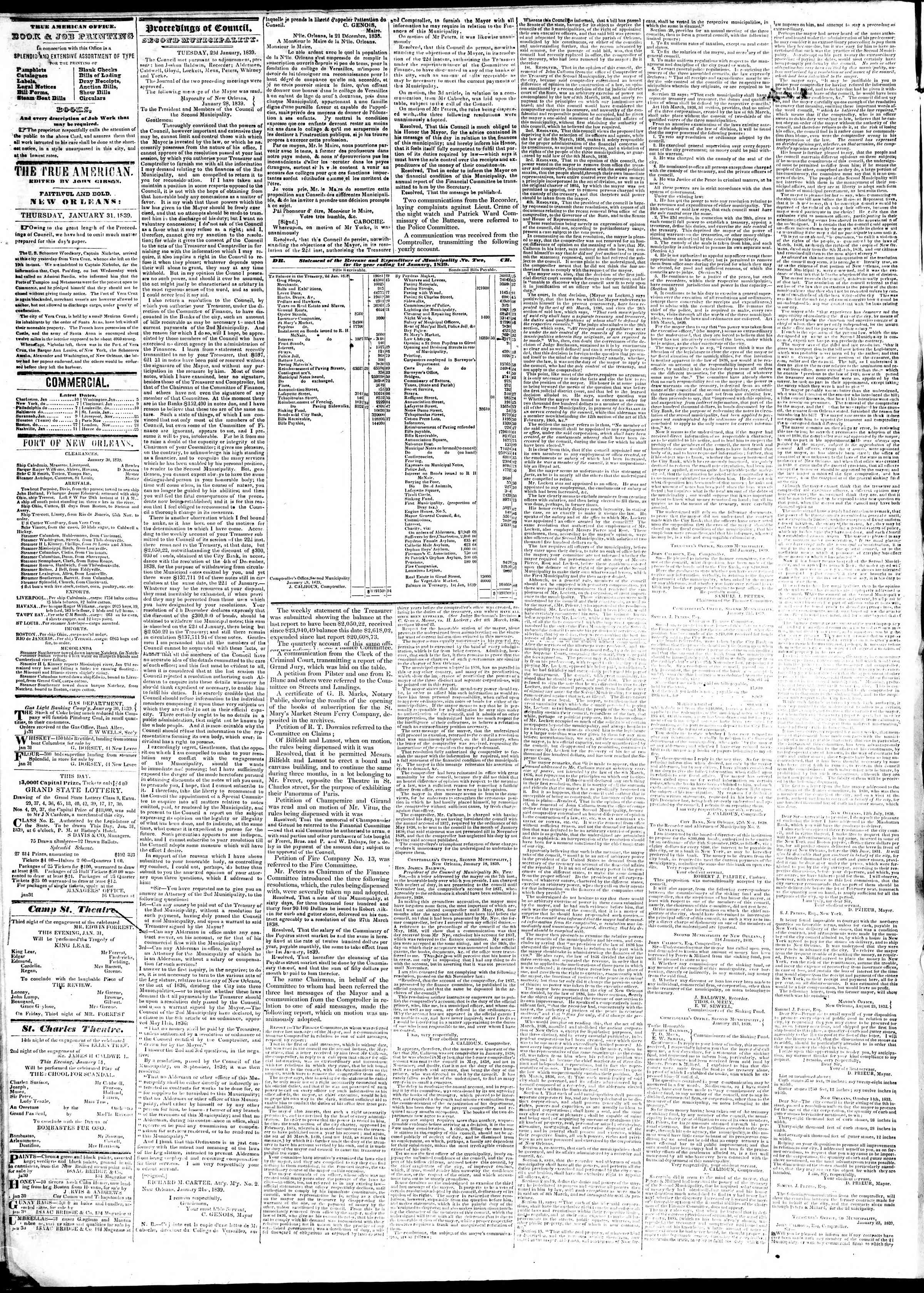 Newspaper of True American dated January 31, 1839 Page 2