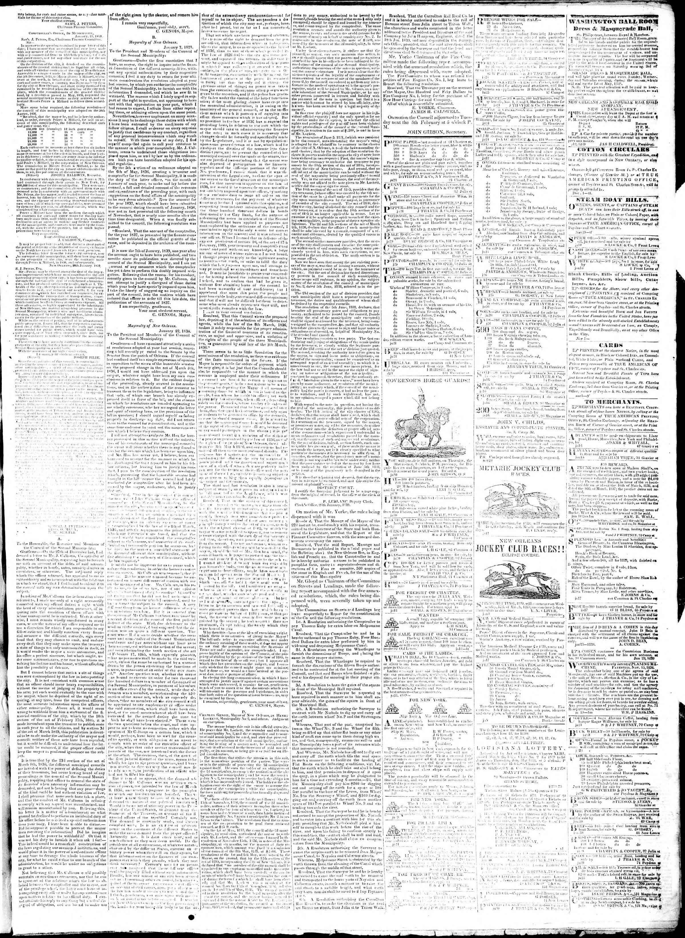 January 31, 1839 Tarihli True American Gazetesi Sayfa 3