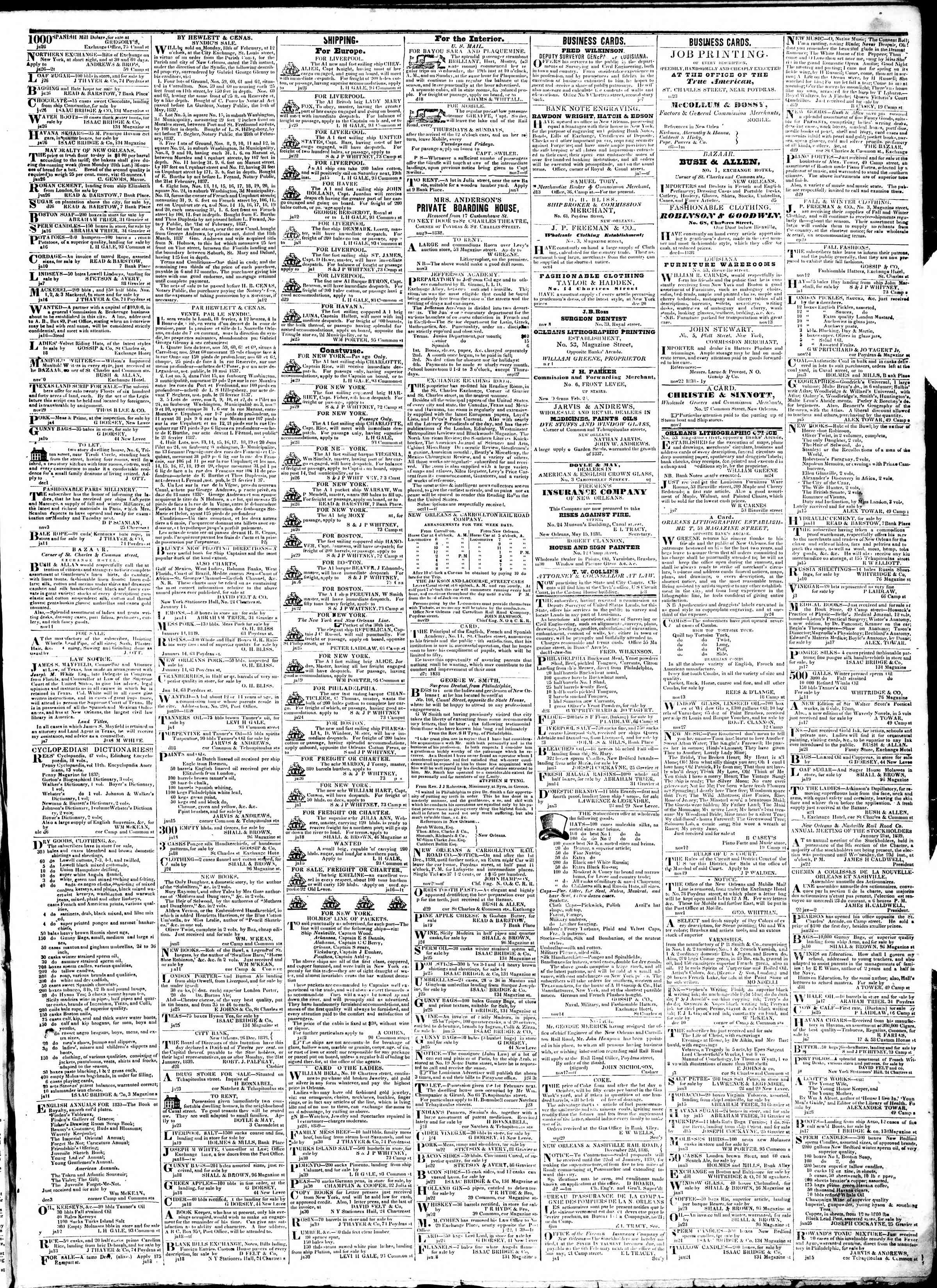 Newspaper of True American dated February 1, 1839 Page 3