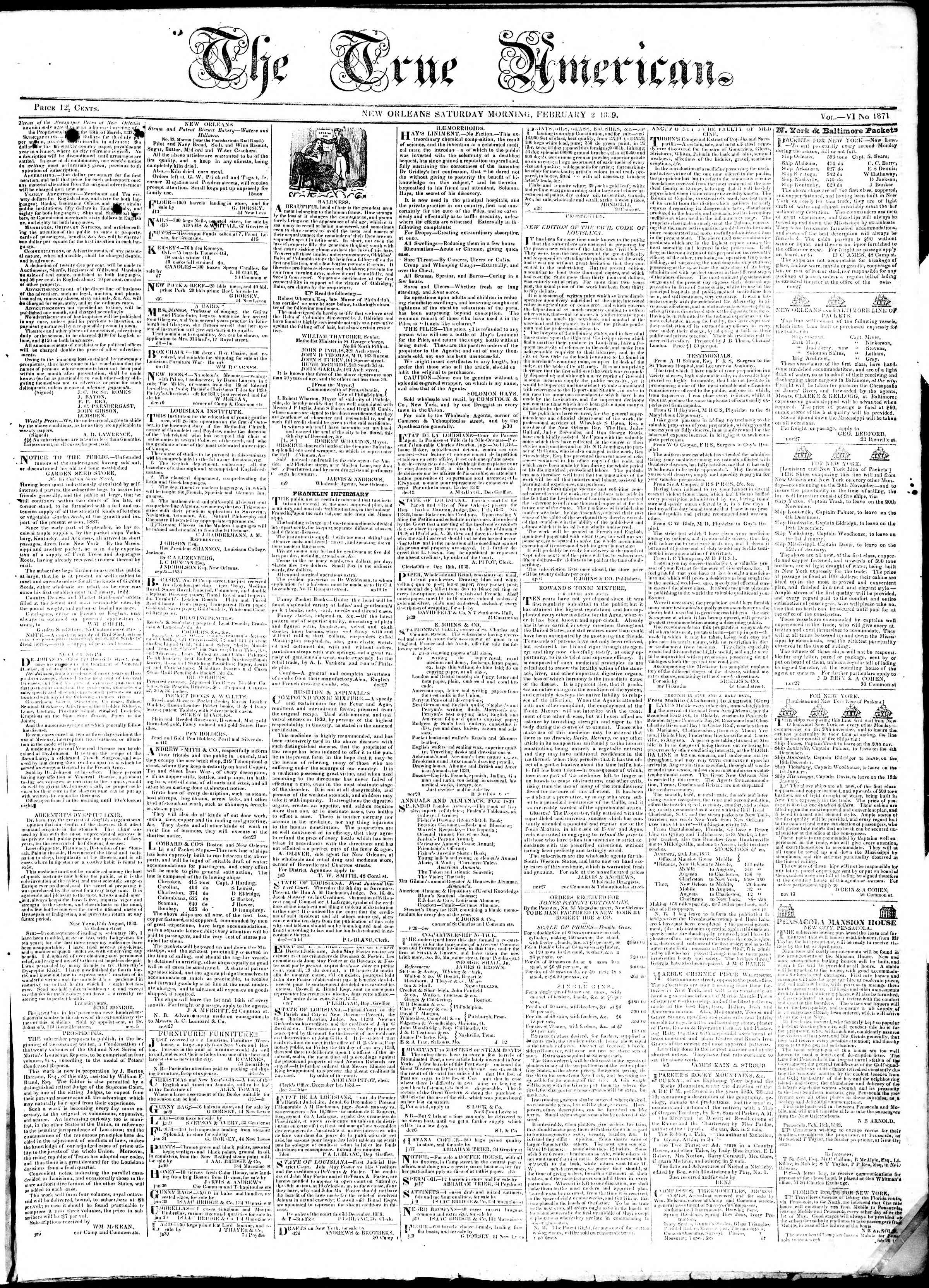 Newspaper of True American dated February 2, 1839 Page 1