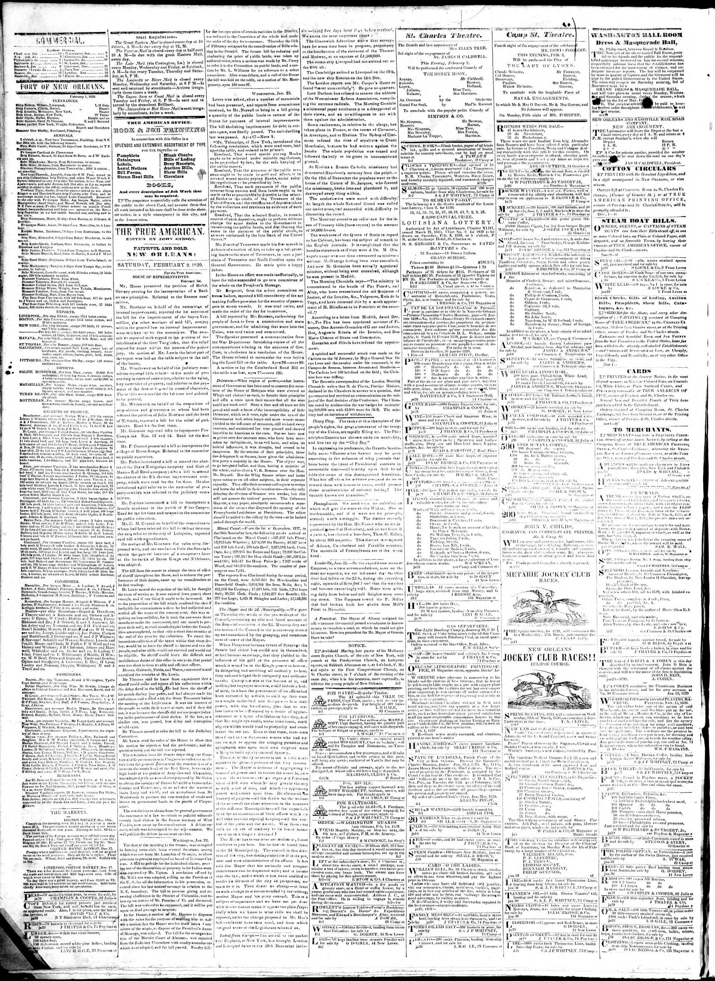 February 2, 1839 Tarihli True American Gazetesi Sayfa 2