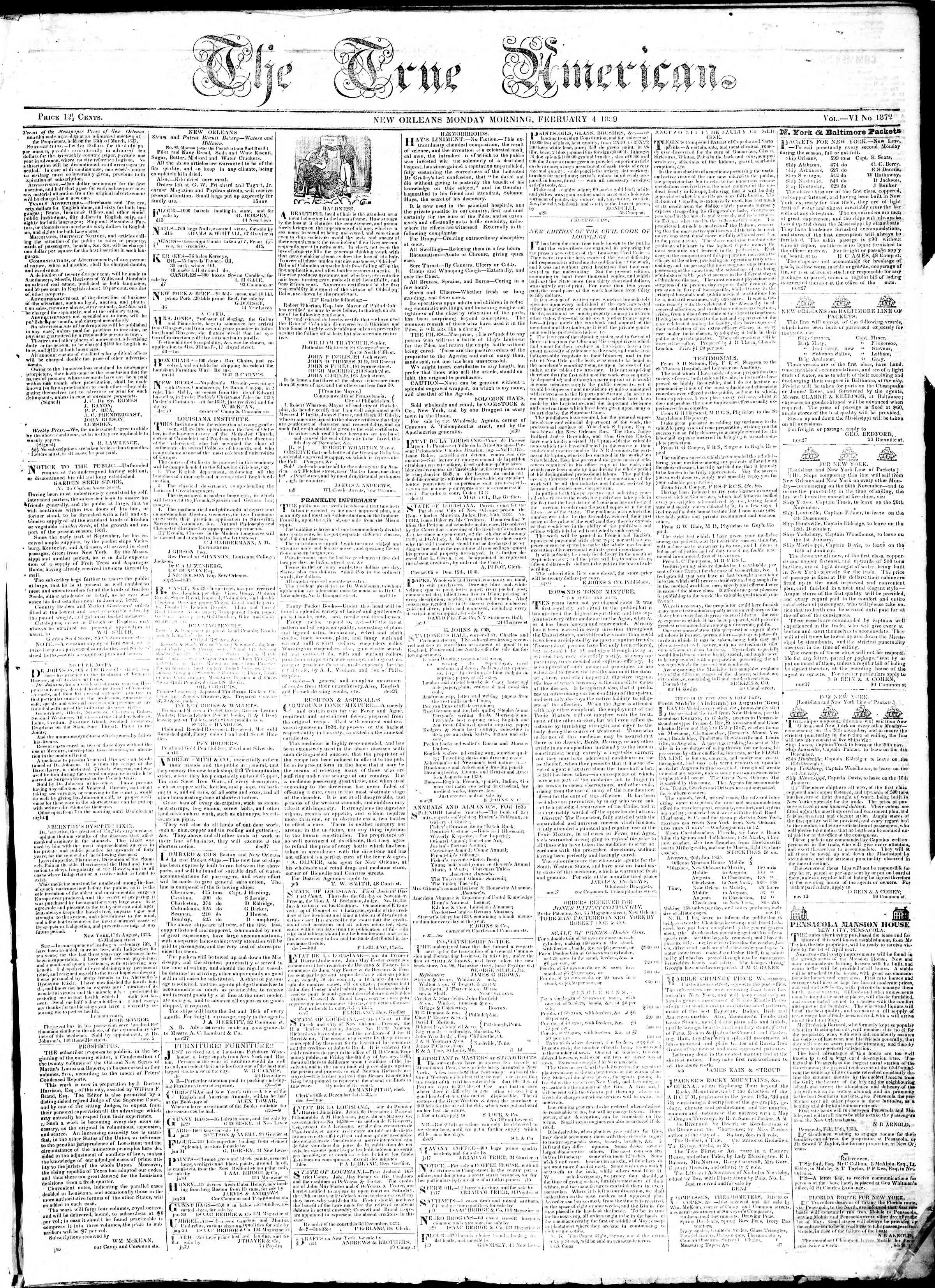 February 4, 1839 Tarihli True American Gazetesi Sayfa 1