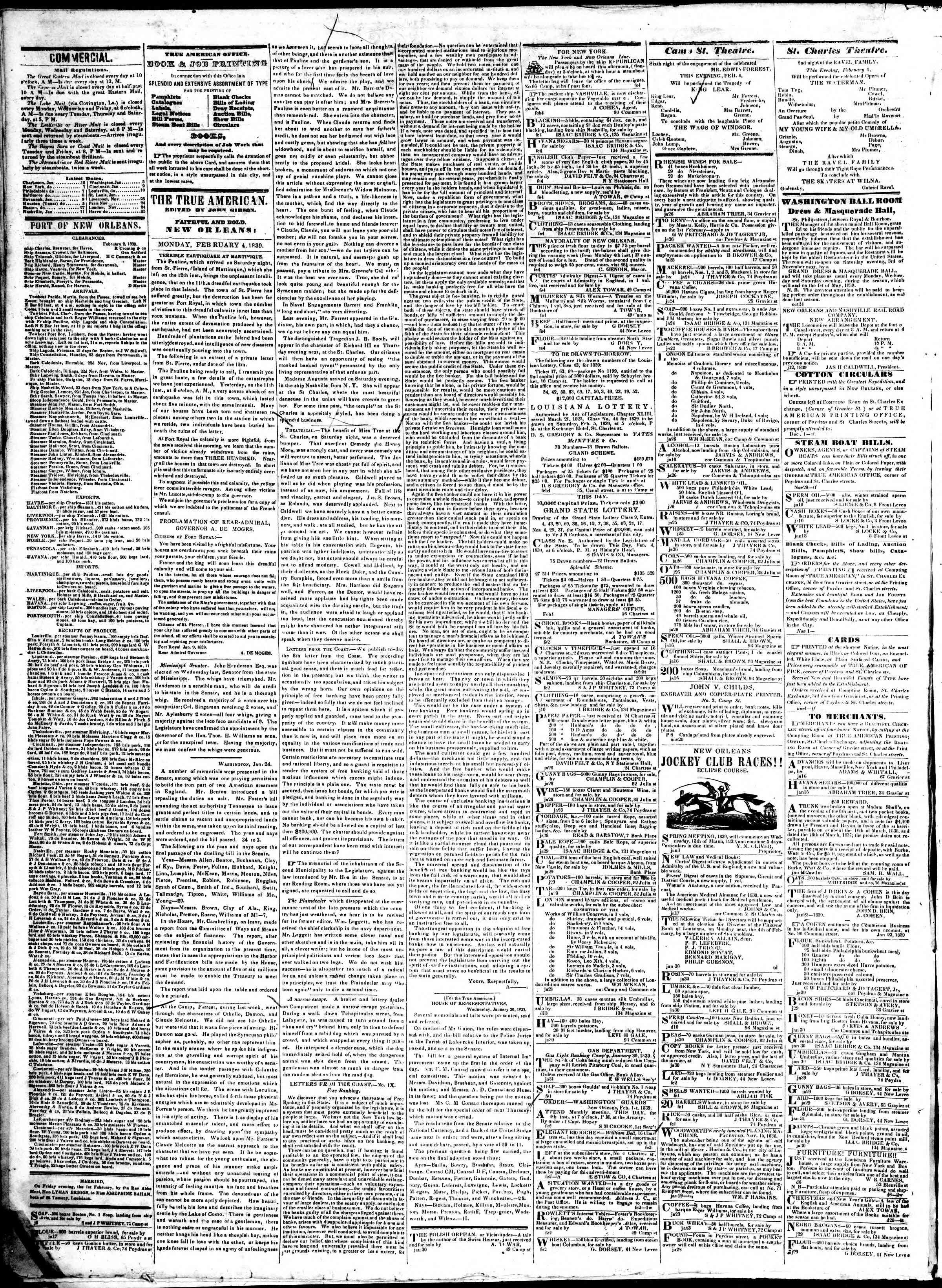 February 4, 1839 Tarihli True American Gazetesi Sayfa 2