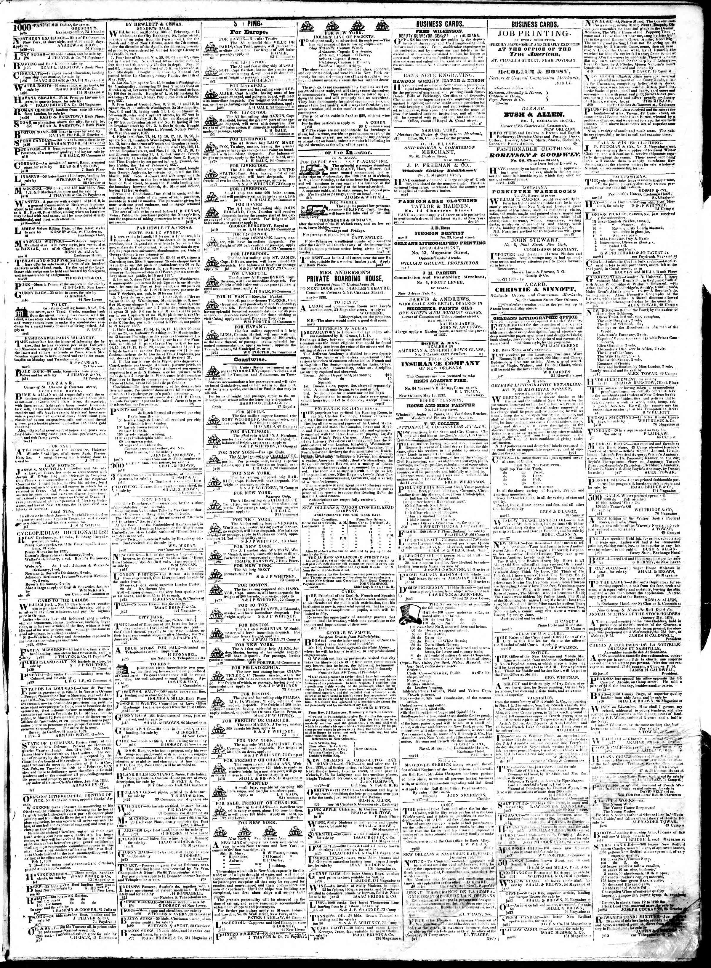 Newspaper of True American dated February 4, 1839 Page 3