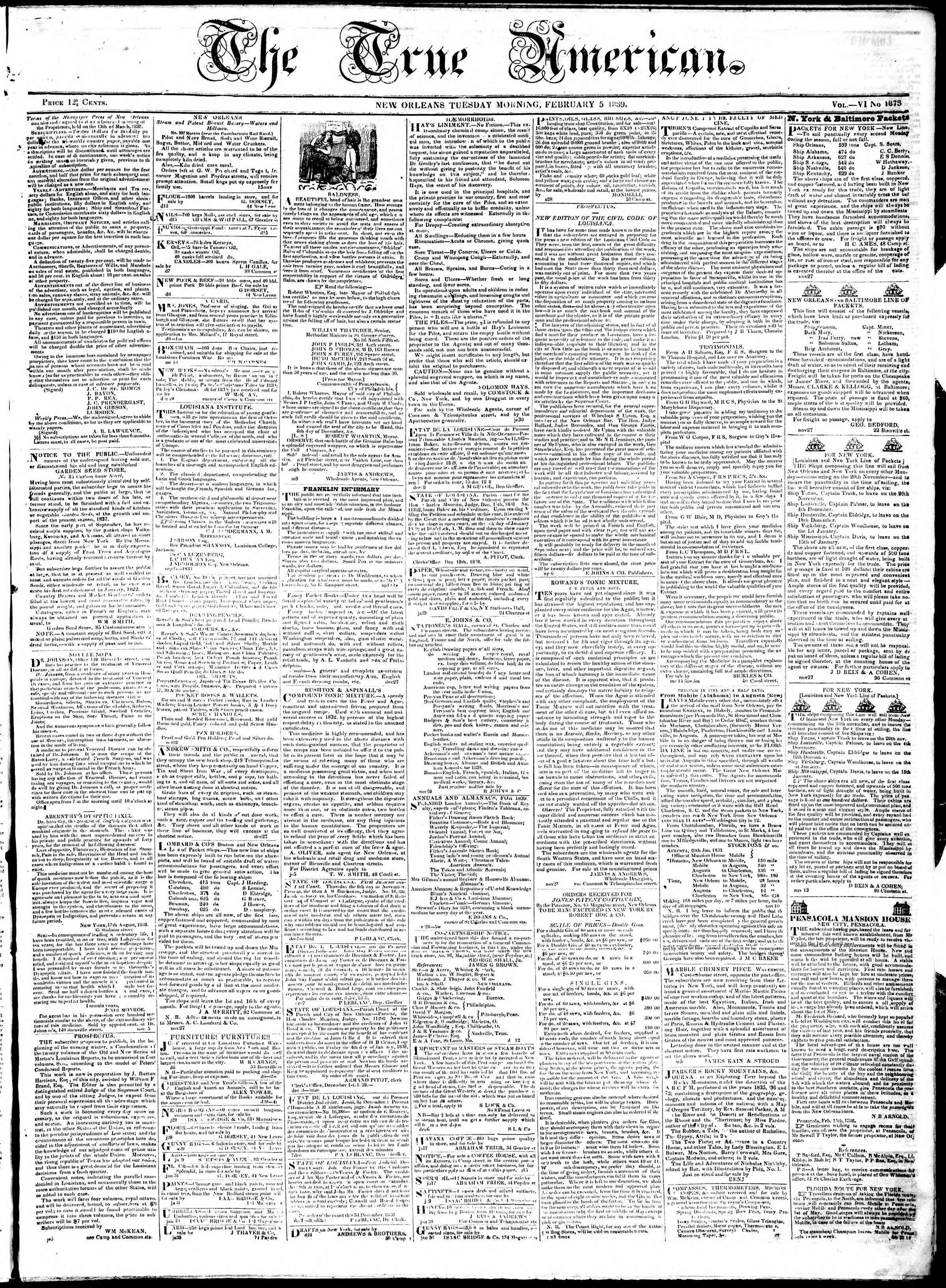 February 5, 1839 Tarihli True American Gazetesi Sayfa 1