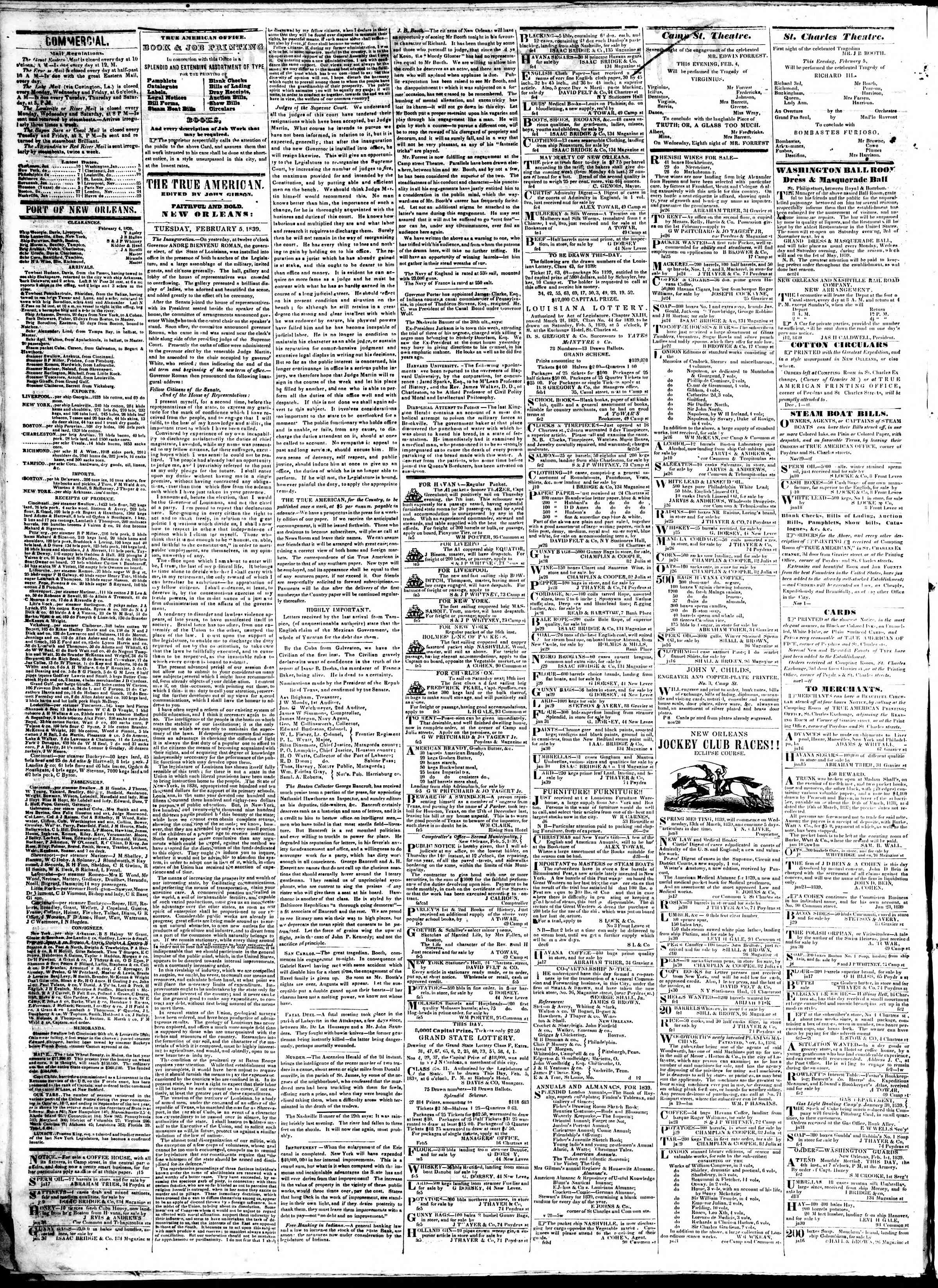 Newspaper of True American dated February 5, 1839 Page 2