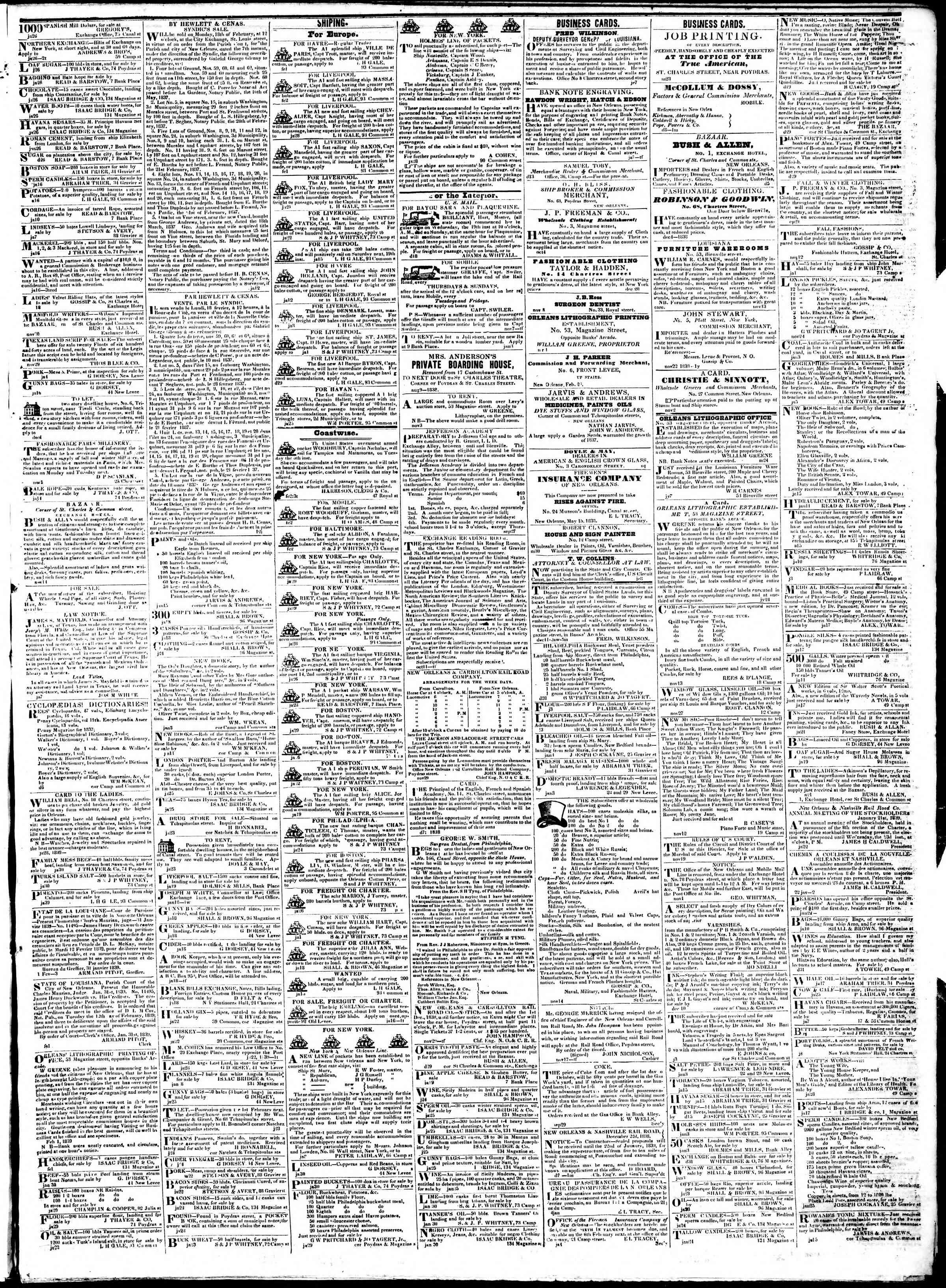 February 5, 1839 Tarihli True American Gazetesi Sayfa 3
