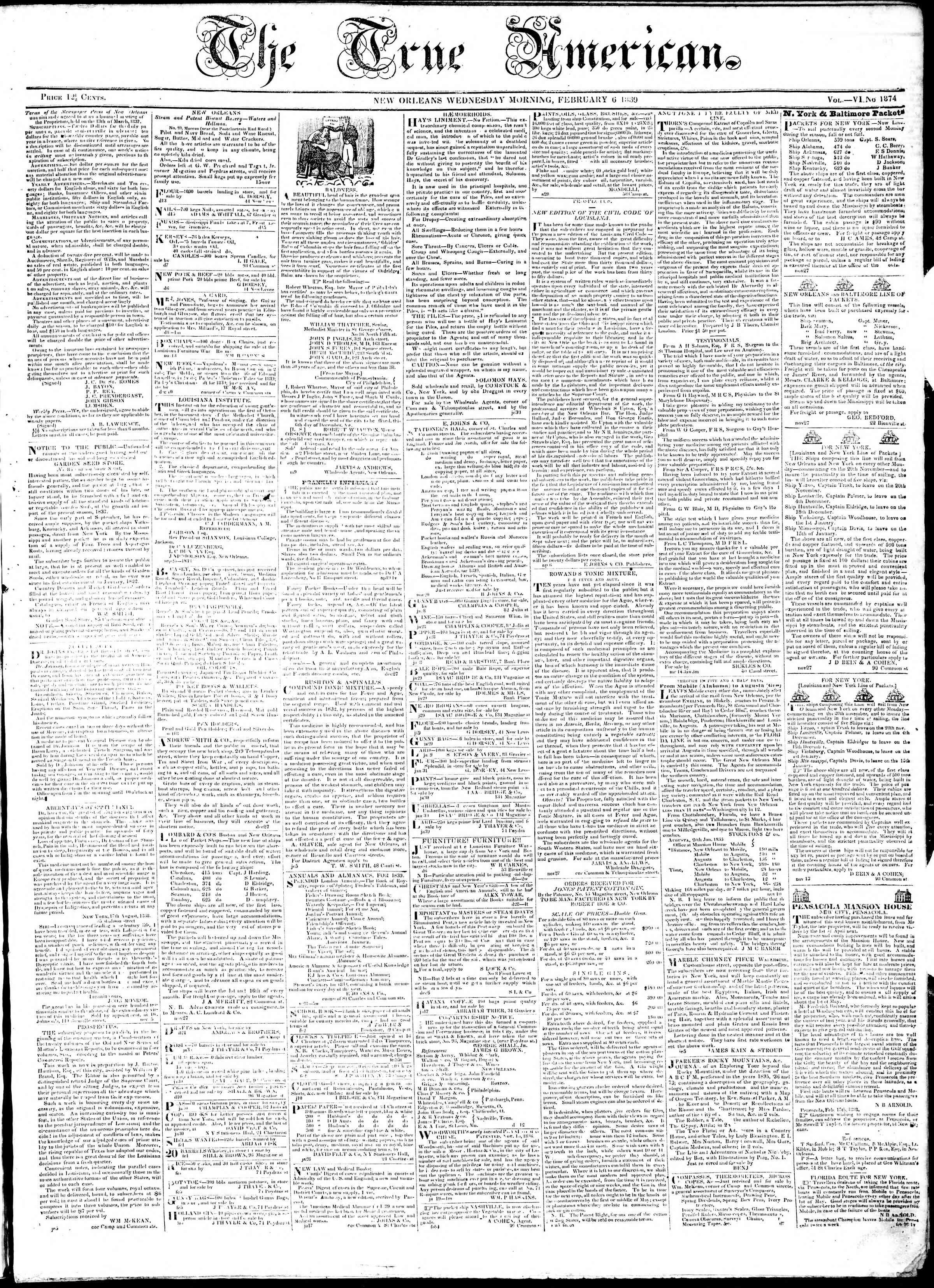 February 6, 1839 Tarihli True American Gazetesi Sayfa 1