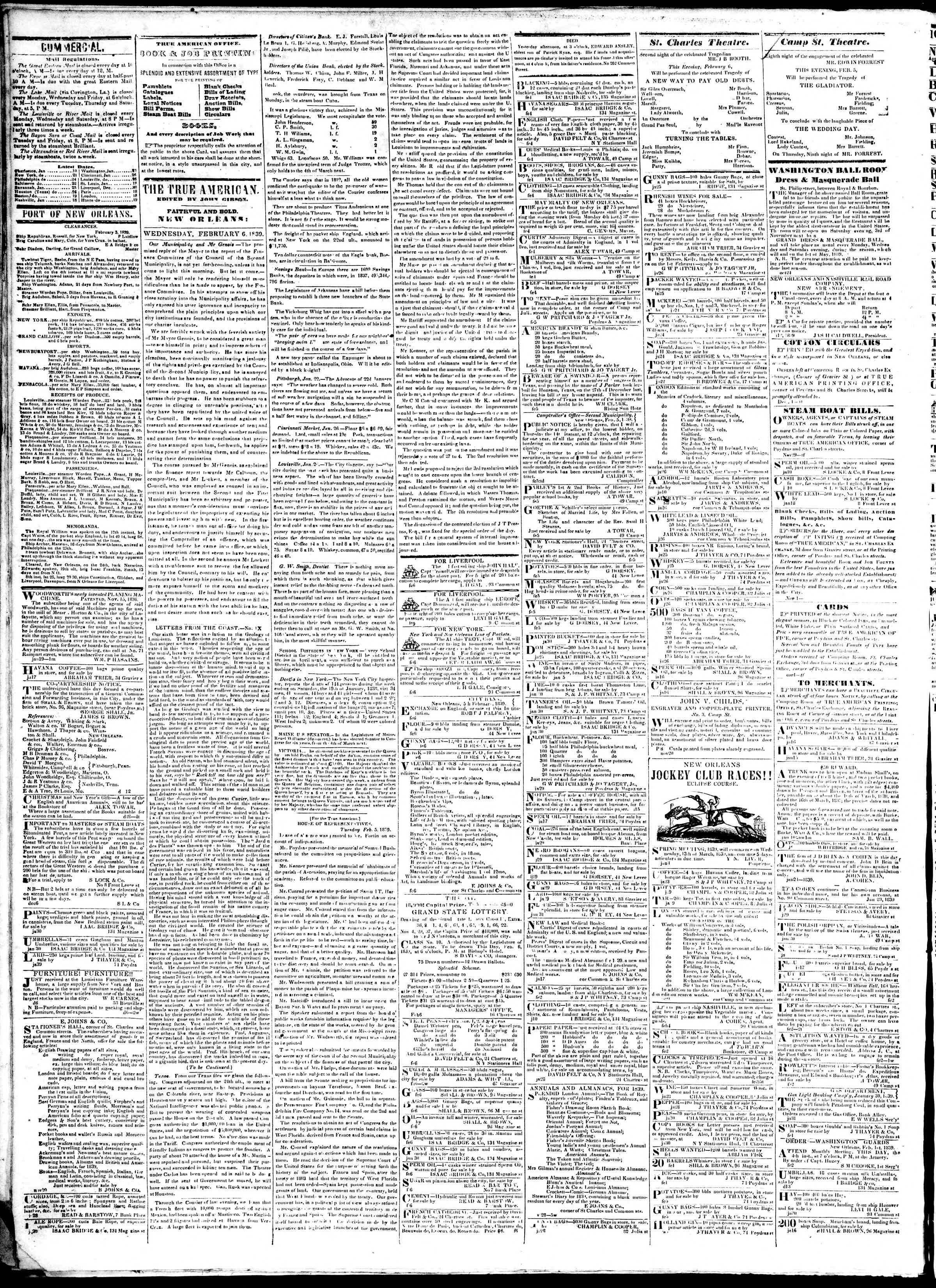 February 6, 1839 Tarihli True American Gazetesi Sayfa 2