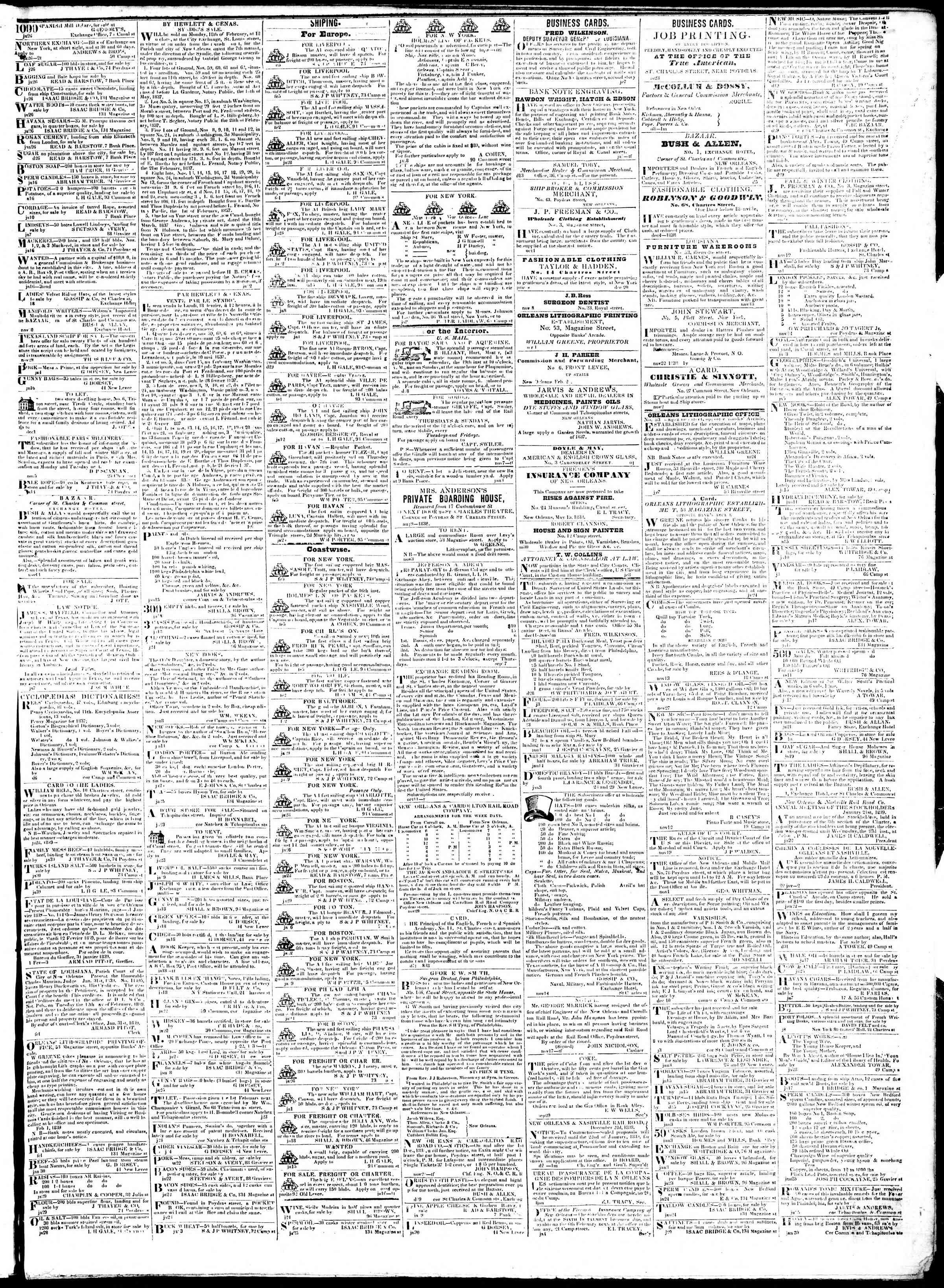 February 6, 1839 Tarihli True American Gazetesi Sayfa 3