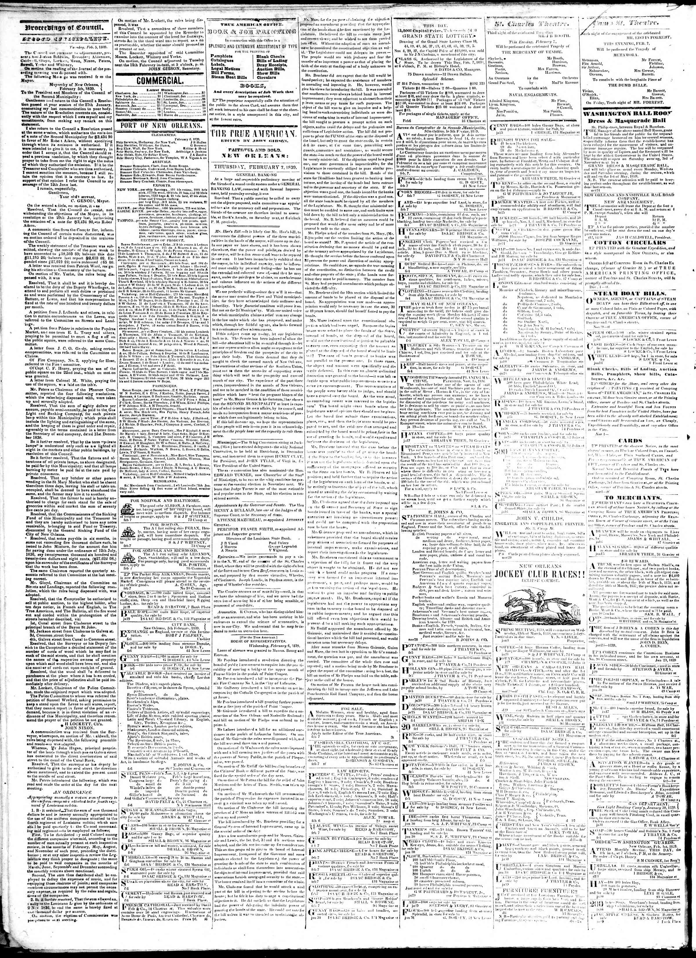 Newspaper of True American dated February 7, 1839 Page 2