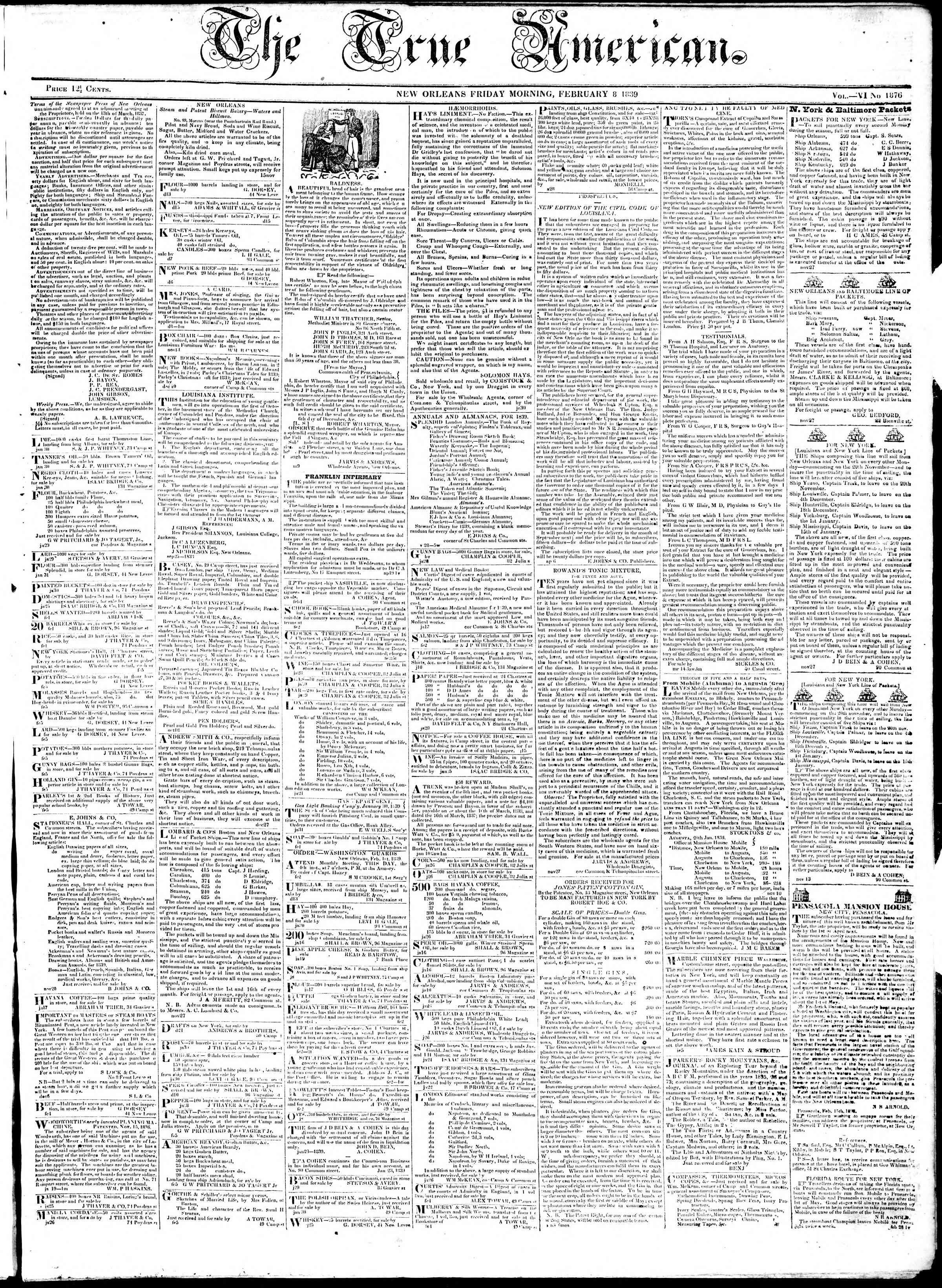 February 8, 1839 Tarihli True American Gazetesi Sayfa 1
