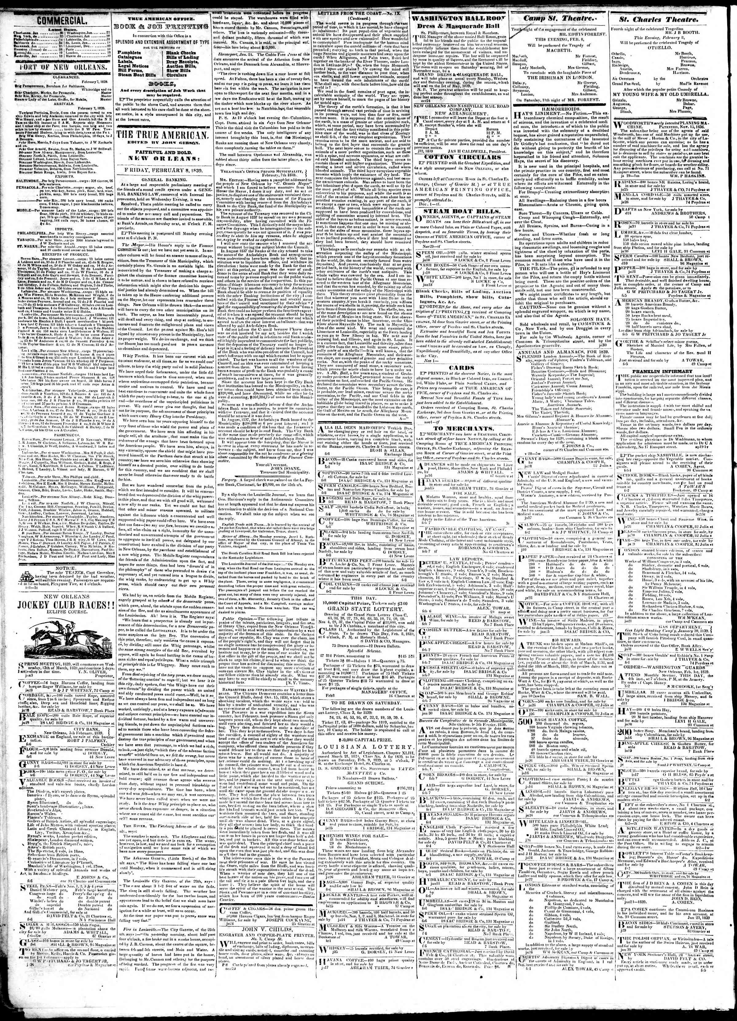 February 8, 1839 Tarihli True American Gazetesi Sayfa 2
