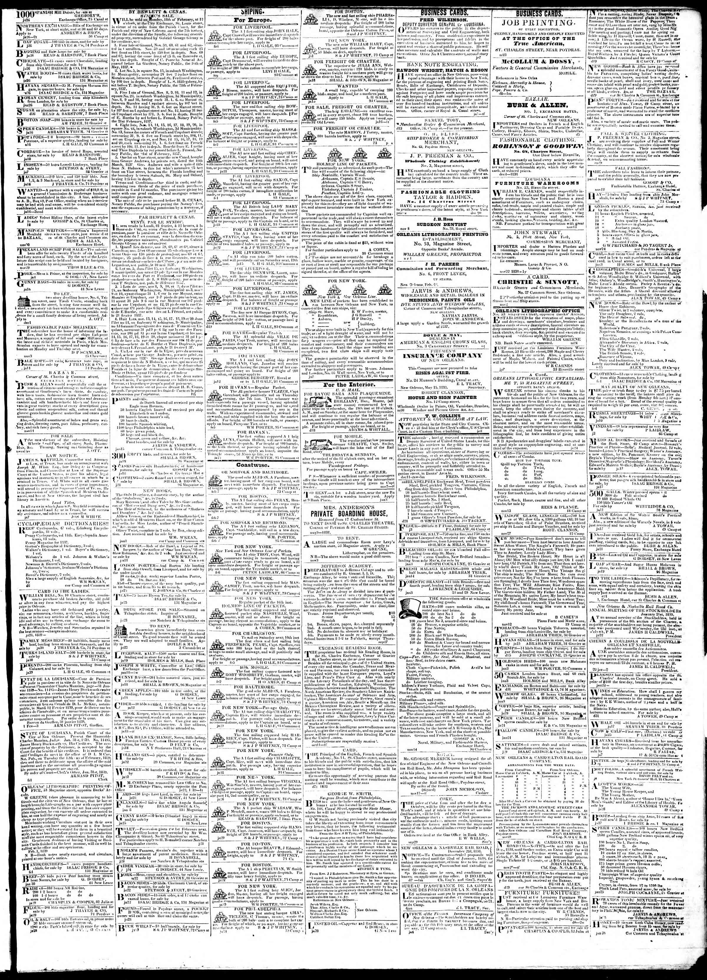 February 8, 1839 Tarihli True American Gazetesi Sayfa 3