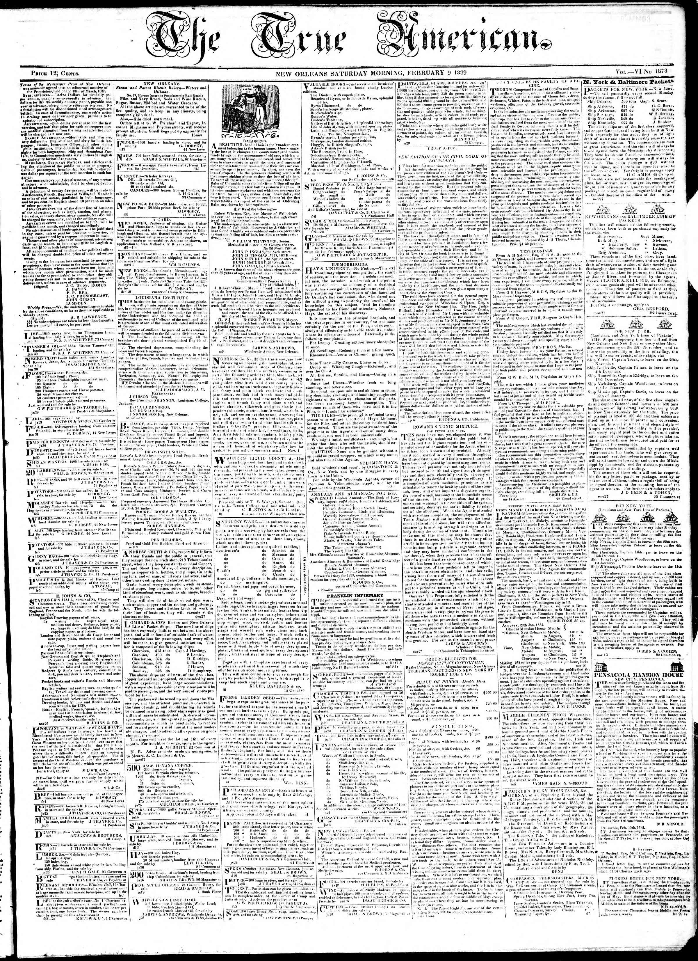 Newspaper of True American dated 9 Şubat 1839 Page 1