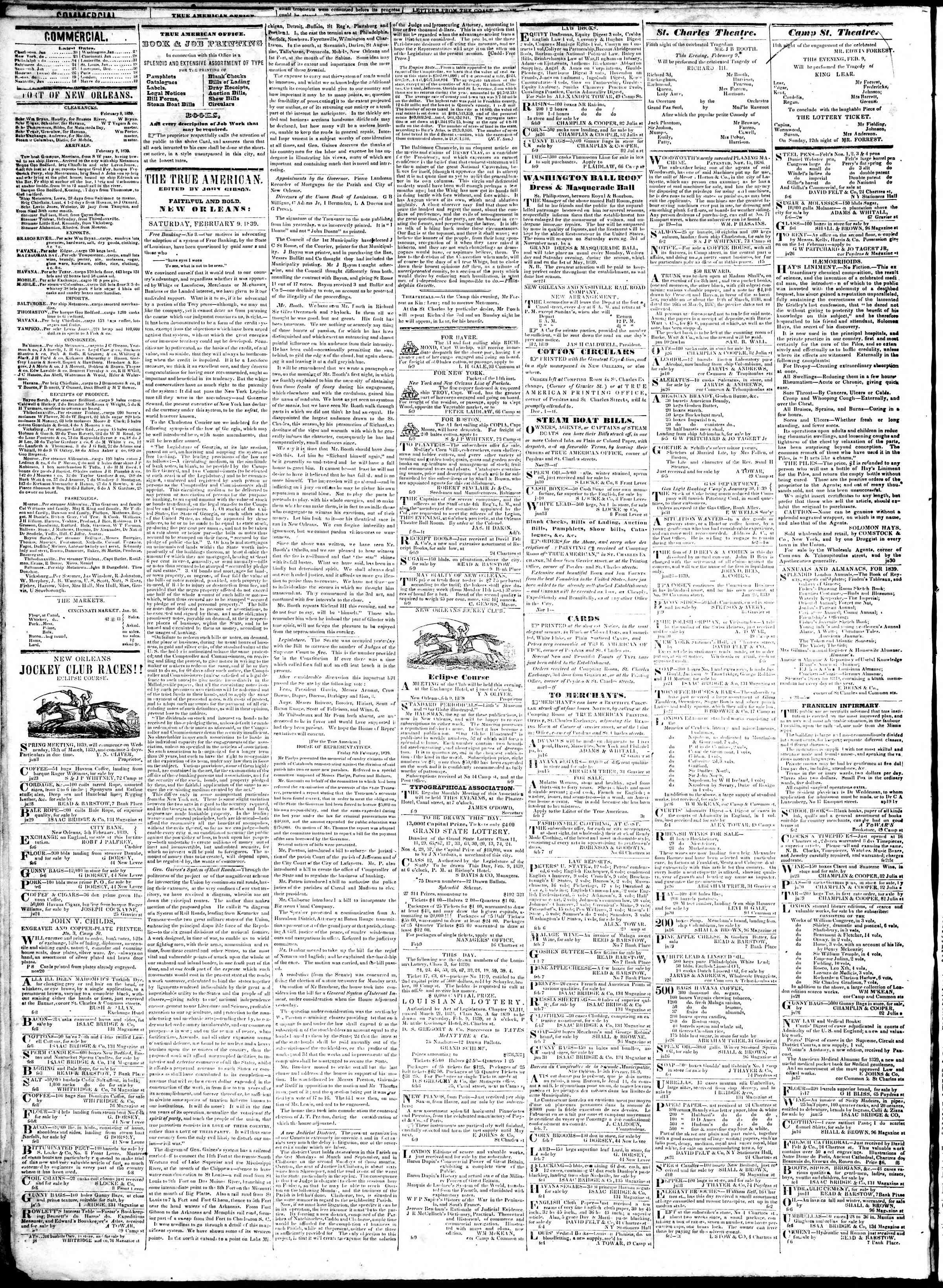 February 9, 1839 Tarihli True American Gazetesi Sayfa 2
