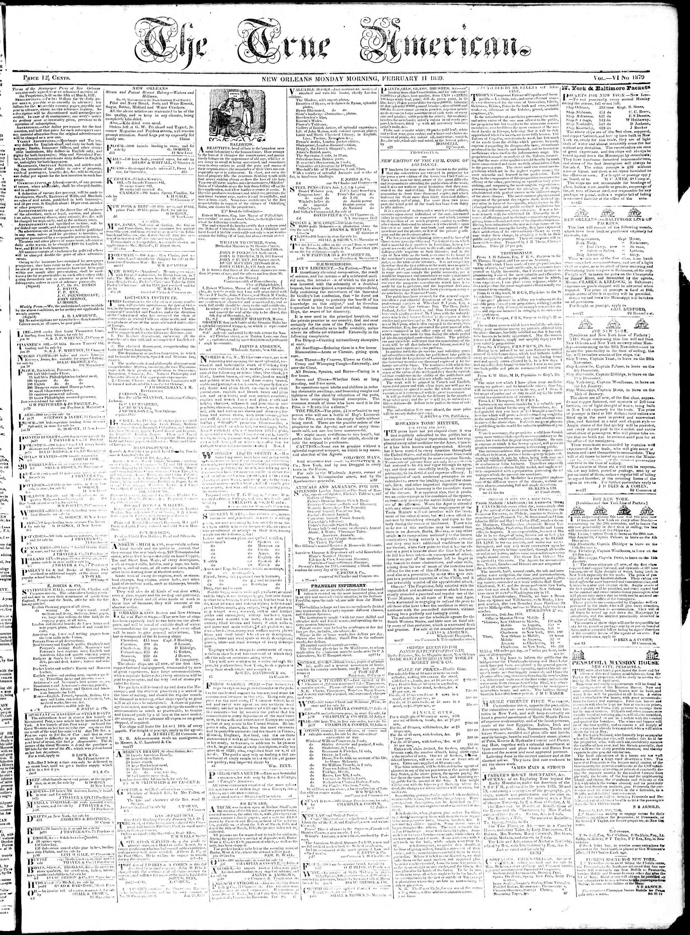 February 11, 1839 Tarihli True American Gazetesi Sayfa 1