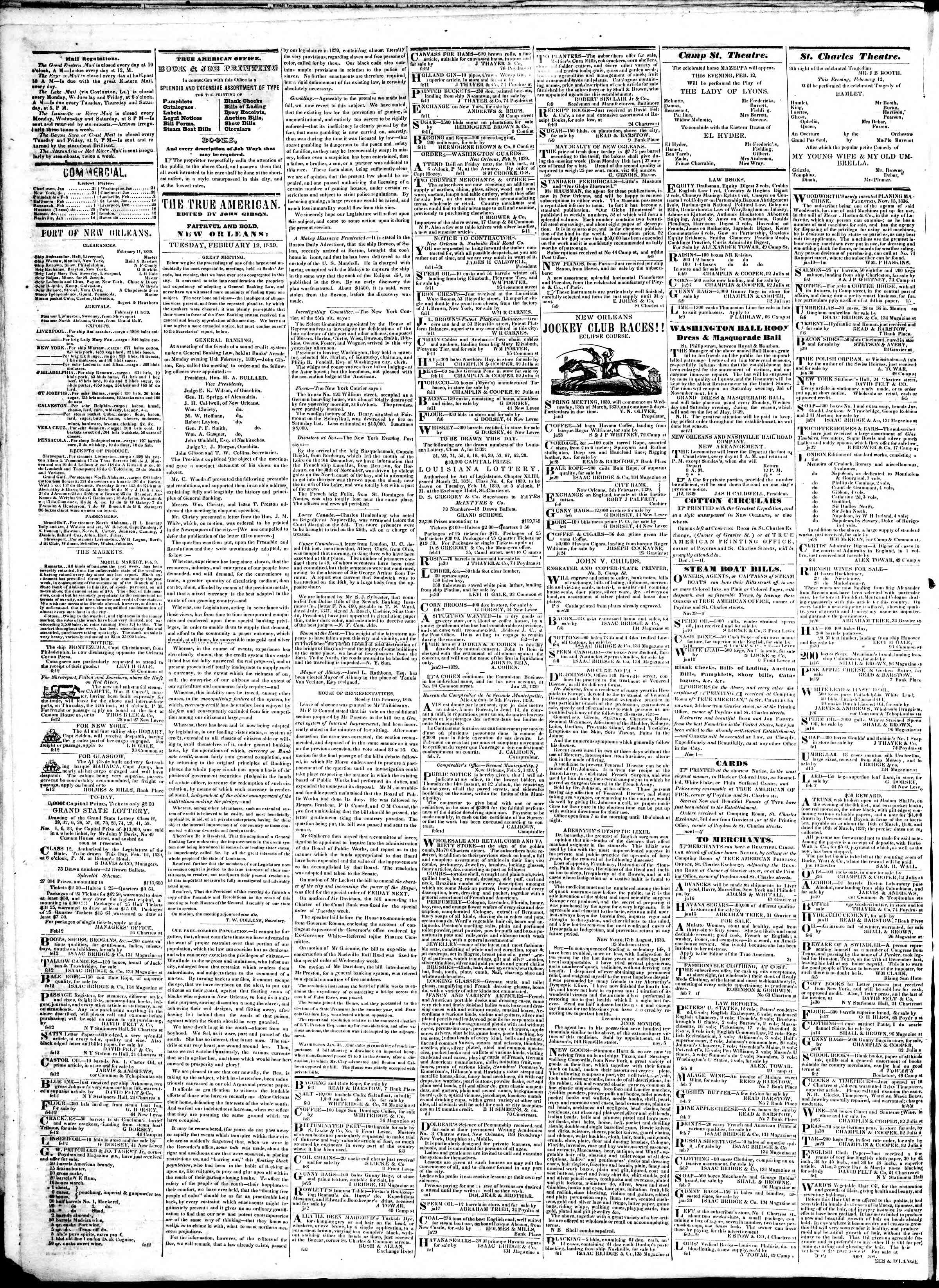 Newspaper of True American dated February 12, 1839 Page 2