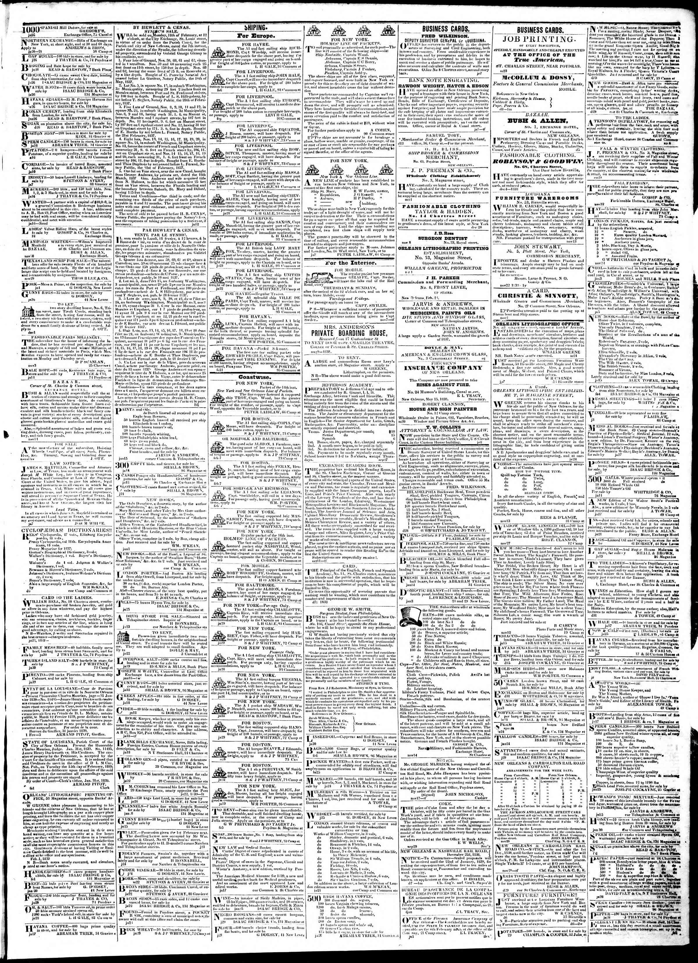 February 12, 1839 Tarihli True American Gazetesi Sayfa 3