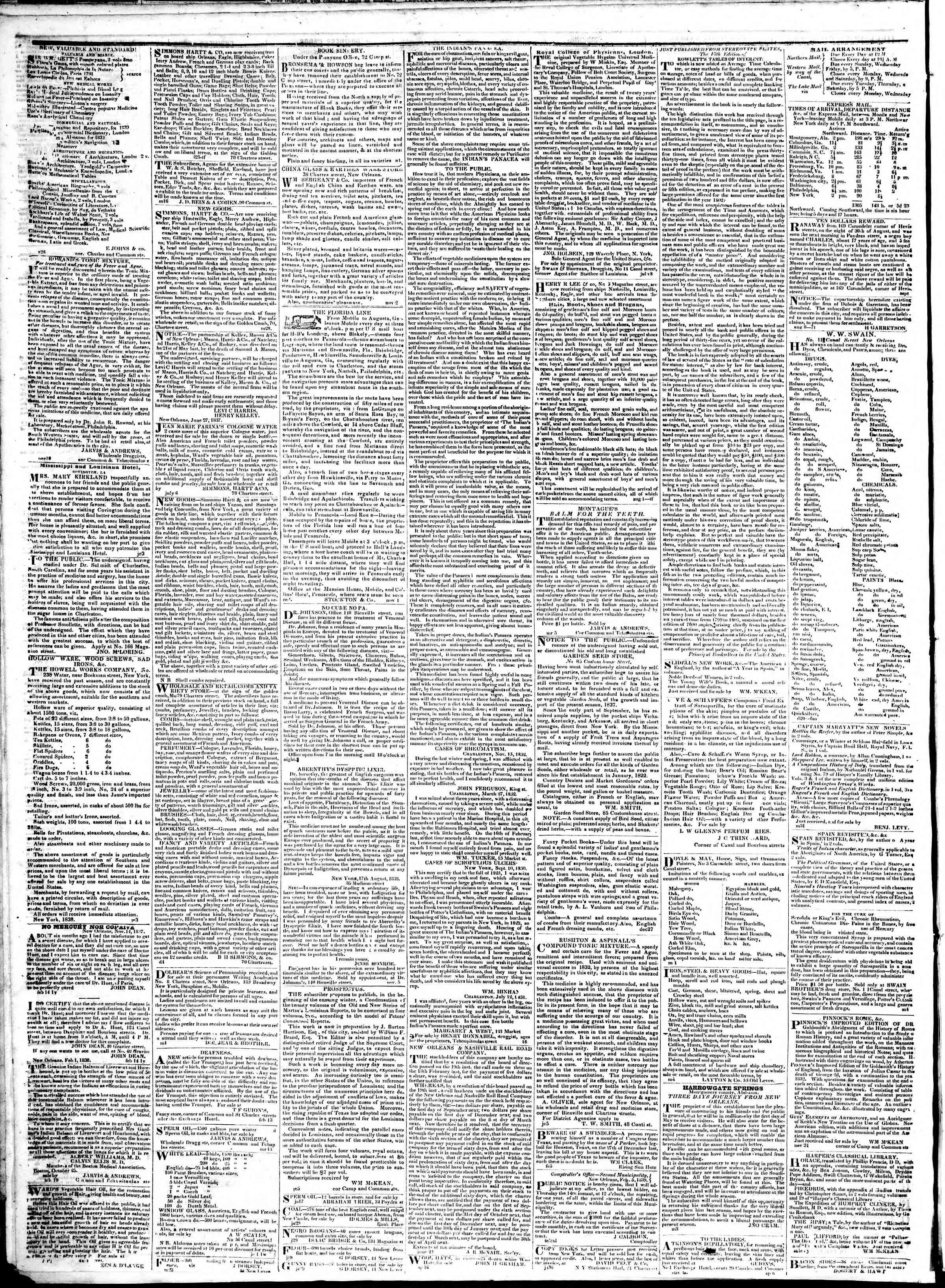 February 12, 1839 Tarihli True American Gazetesi Sayfa 4