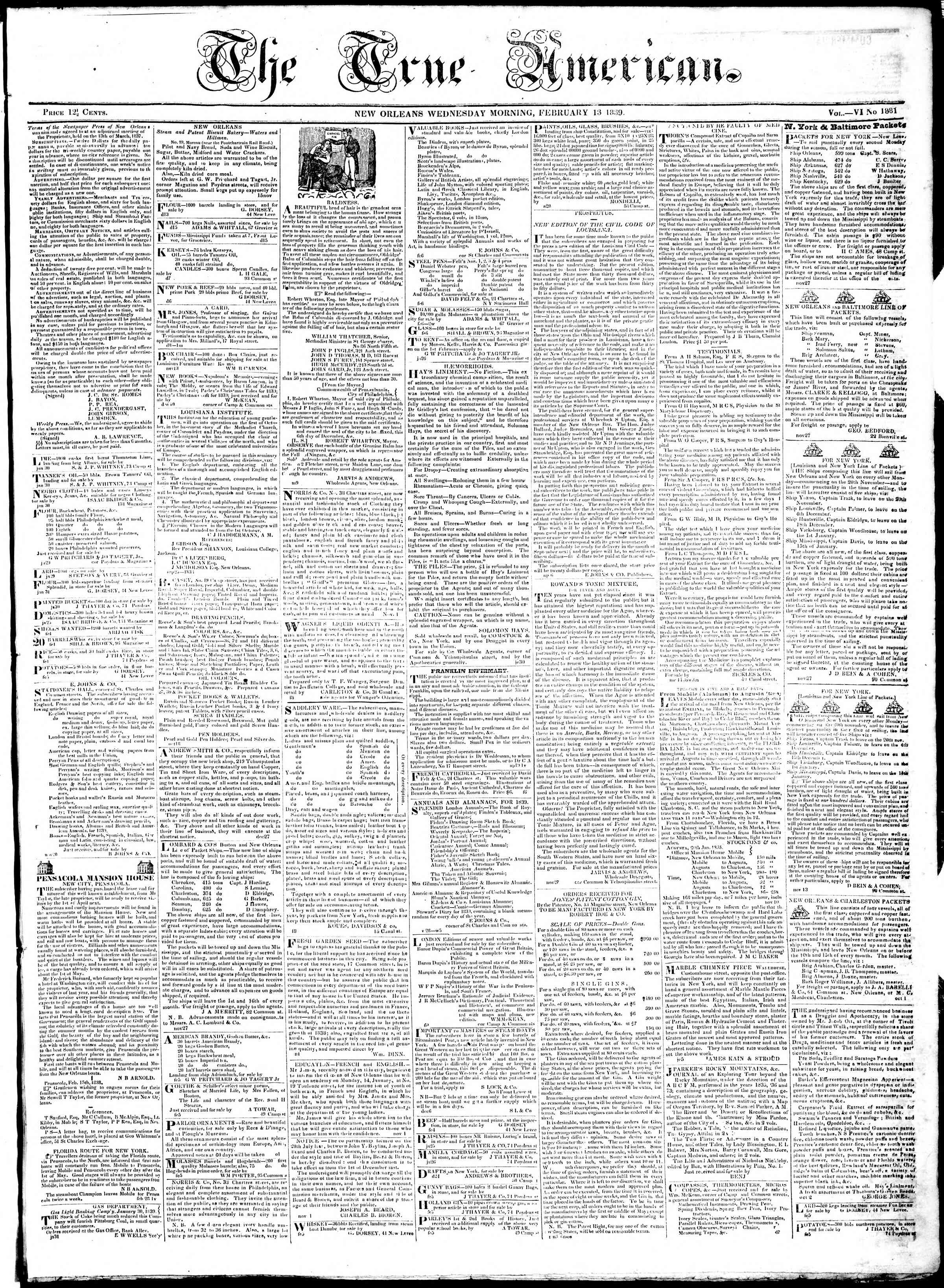 Newspaper of True American dated February 13, 1839 Page 1